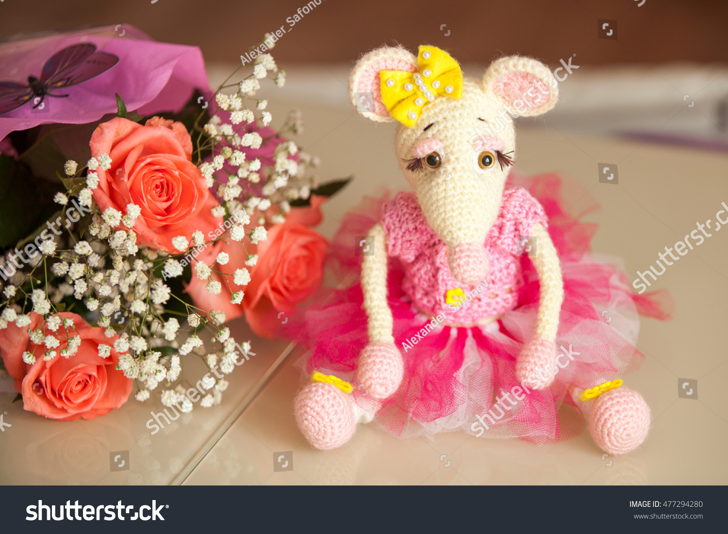 Knitted Amigurumi Mouse Sitting On Table Stock Photo (Safe to Use ...