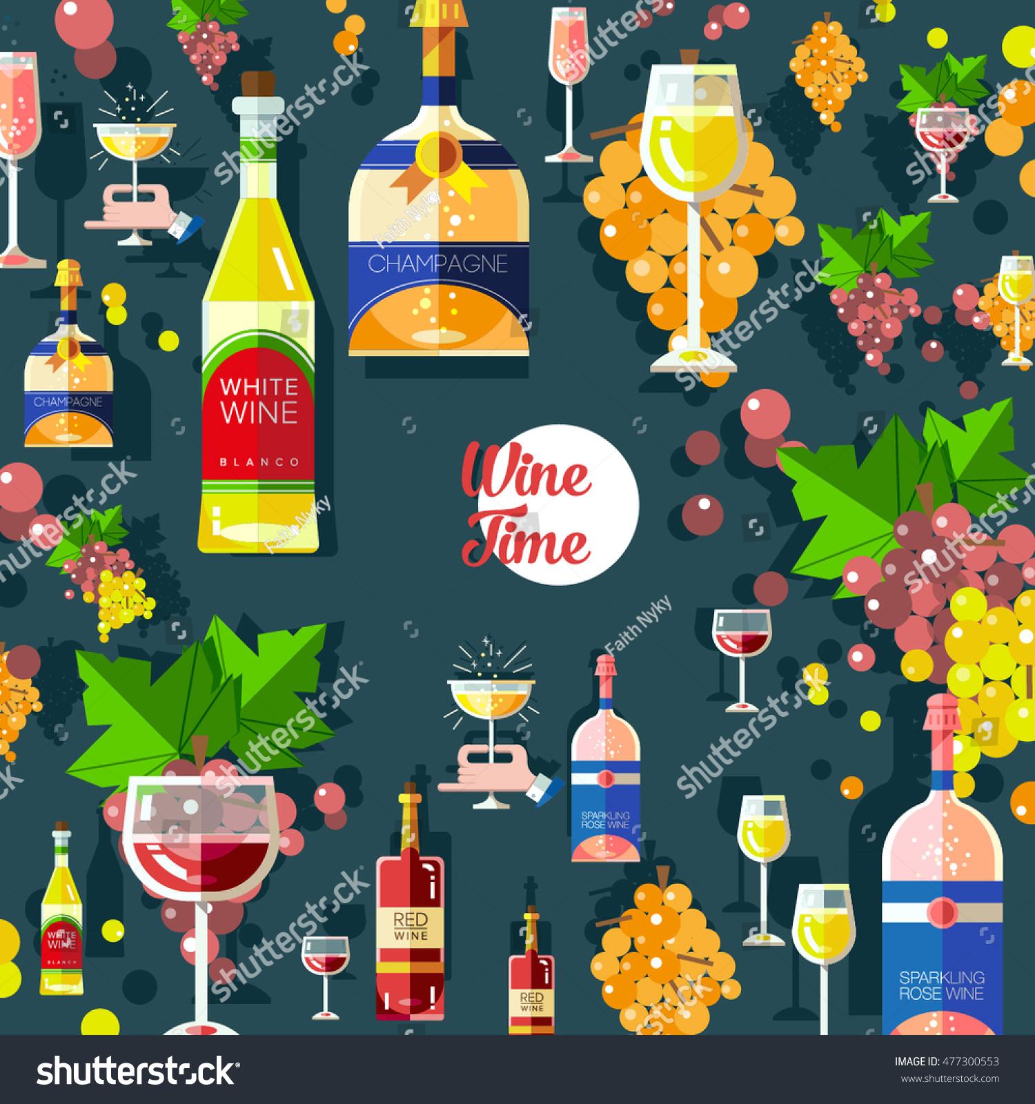 Set Flat Modern Alcohol Wine Icons Stock Vector 477300553