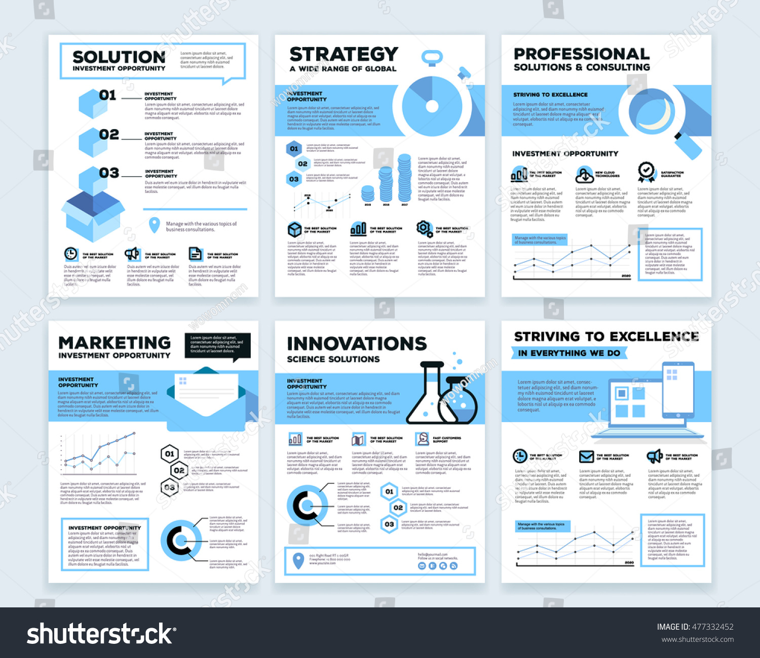 vector collection of corporate business template infographic with objects chart graph icons