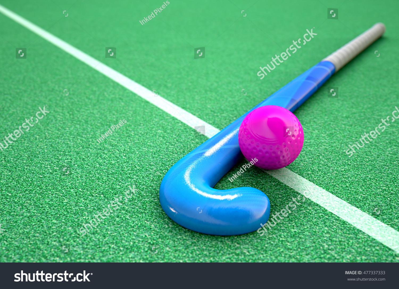 3 D Rendering Hockey Stick Ball On Ilustración de stock477337333 ...