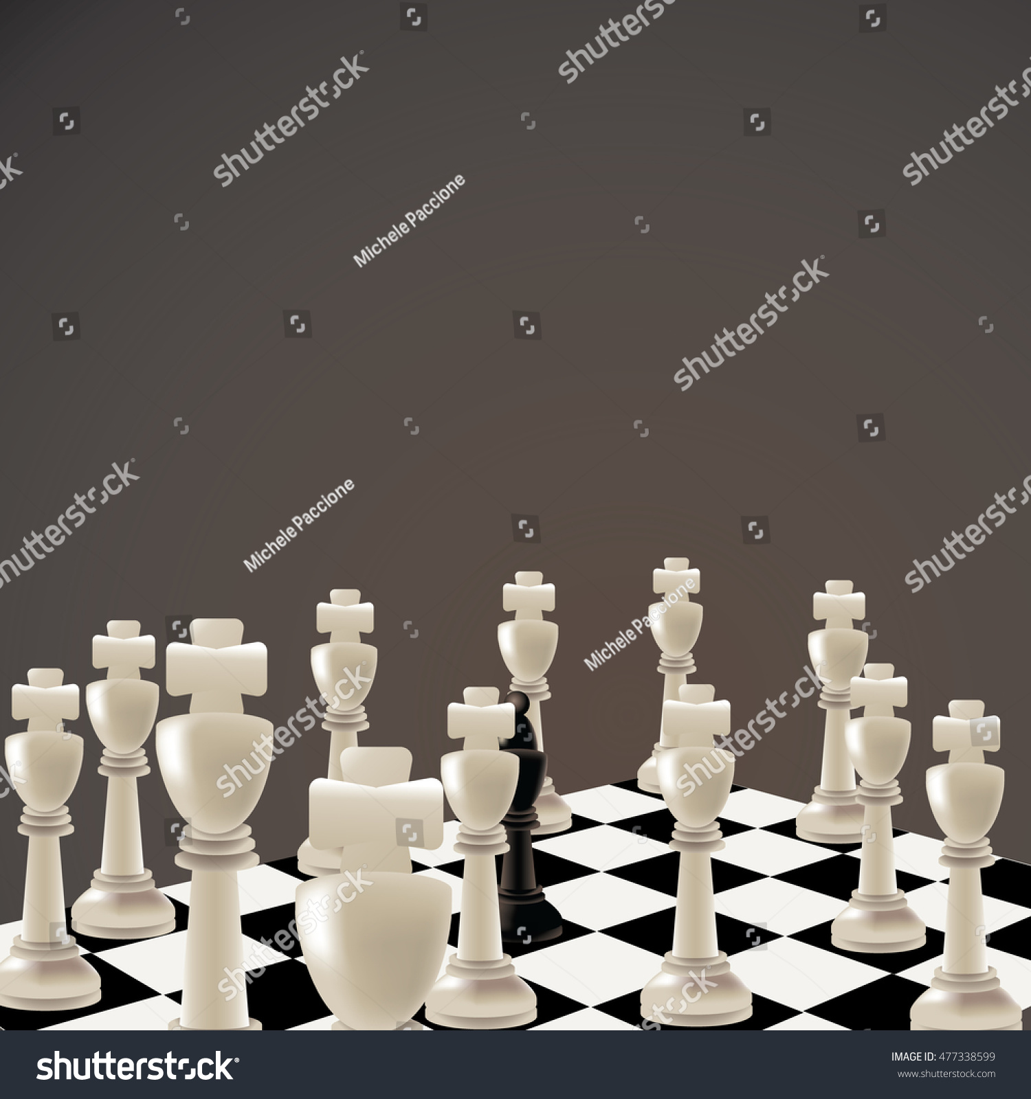 All white king chessboard with one partially hidden black queen eps 10 vector