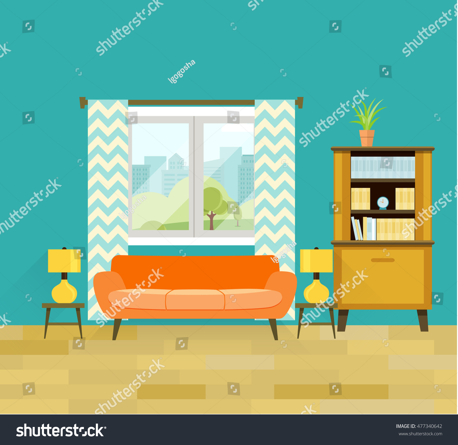 retro living room. Retro living room with furniture  Cozy interior sofa and bookcase Flat vector illustration Living Room Furniture Interior Stock Vector 477340642