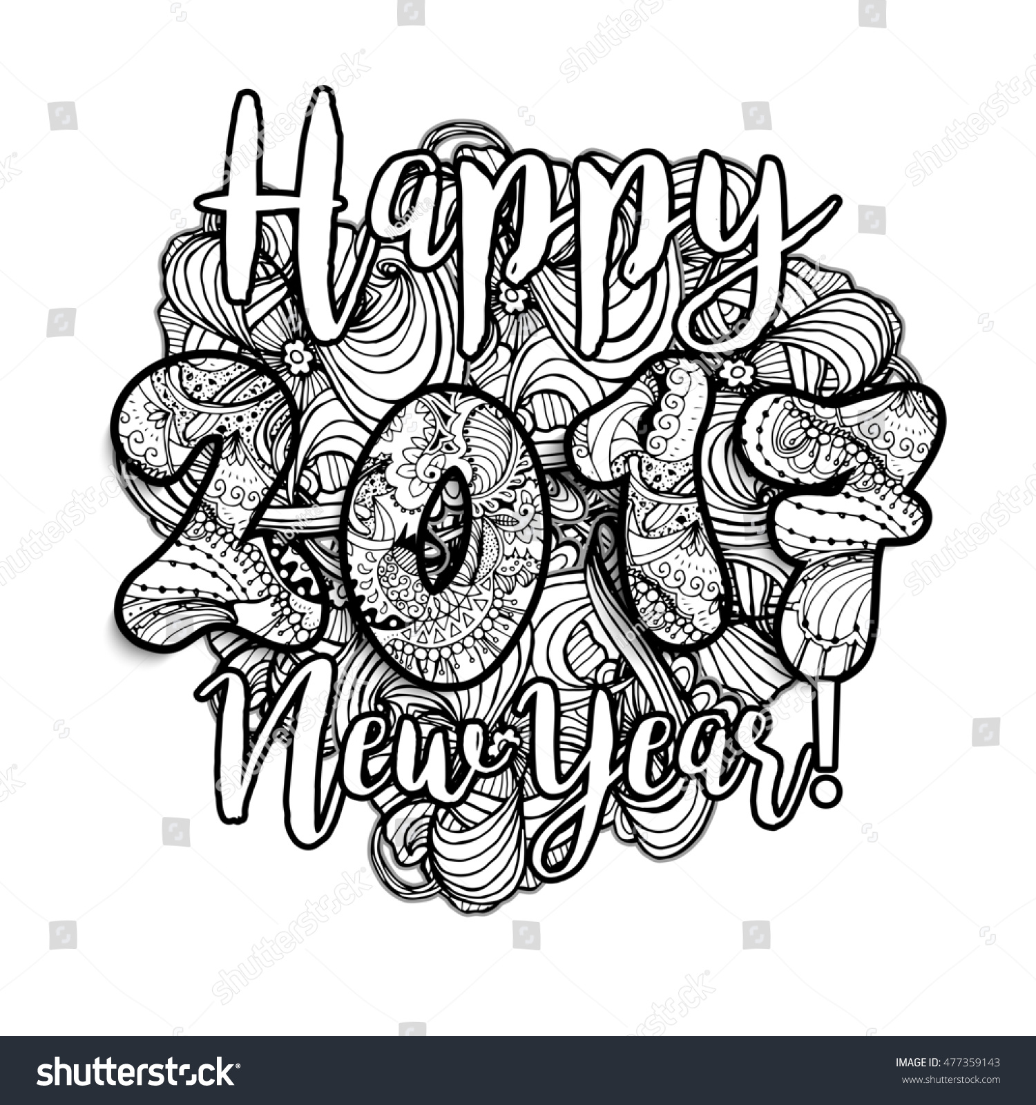 happy new year 2017 hand drawn stock illustration 477359143