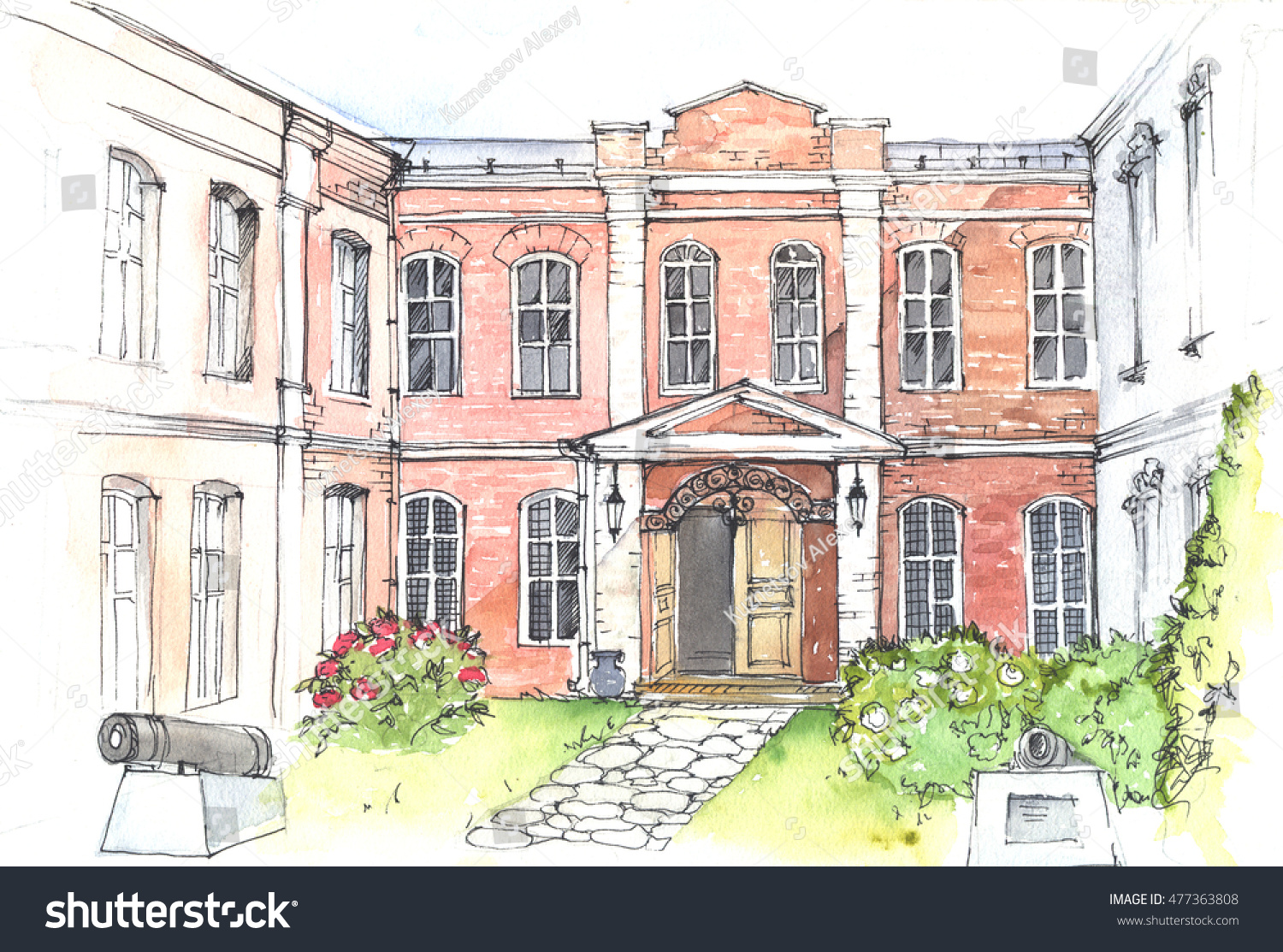 Watercolor And Pen Drawing Of An Old Mansion In The Style Classicism