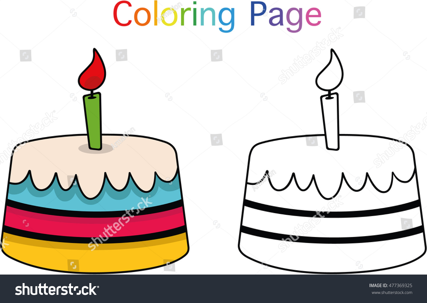 Birthday Cake Coloring Page Children Vector Stock Vector Royalty