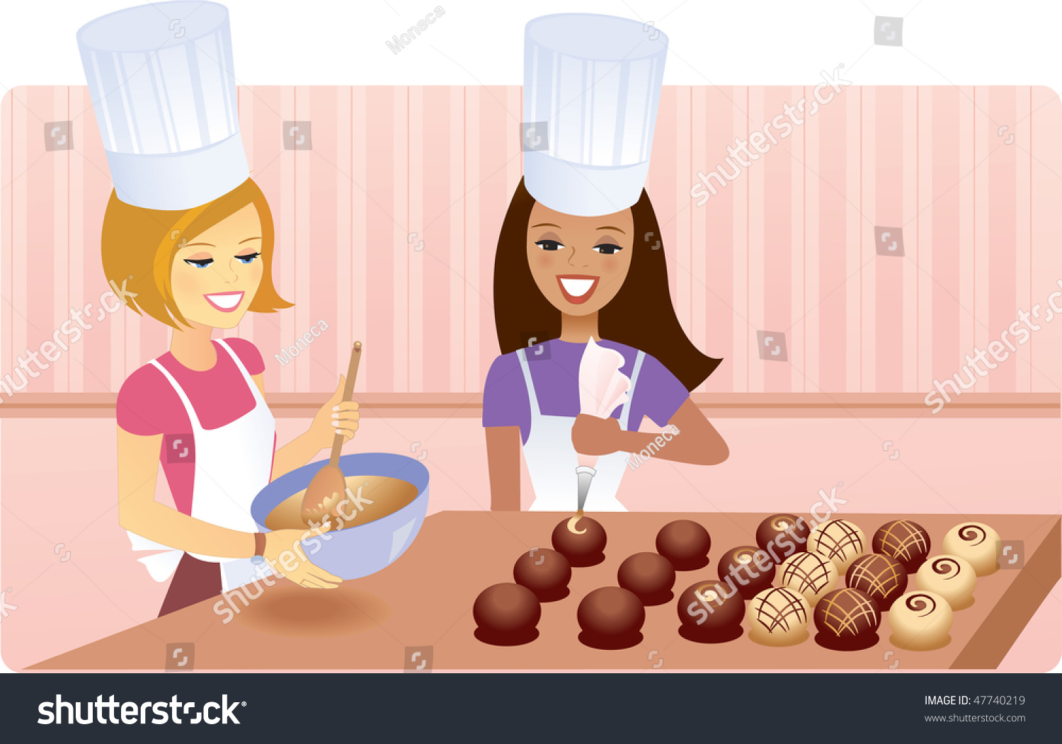 Two Chef Girls Making Chocolate Stock Vector Illustration