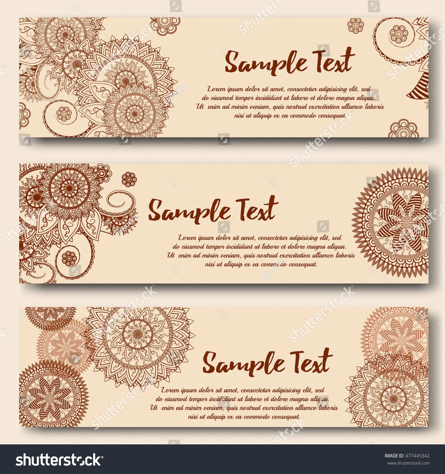 set banners templates indian ornamental style stock vector