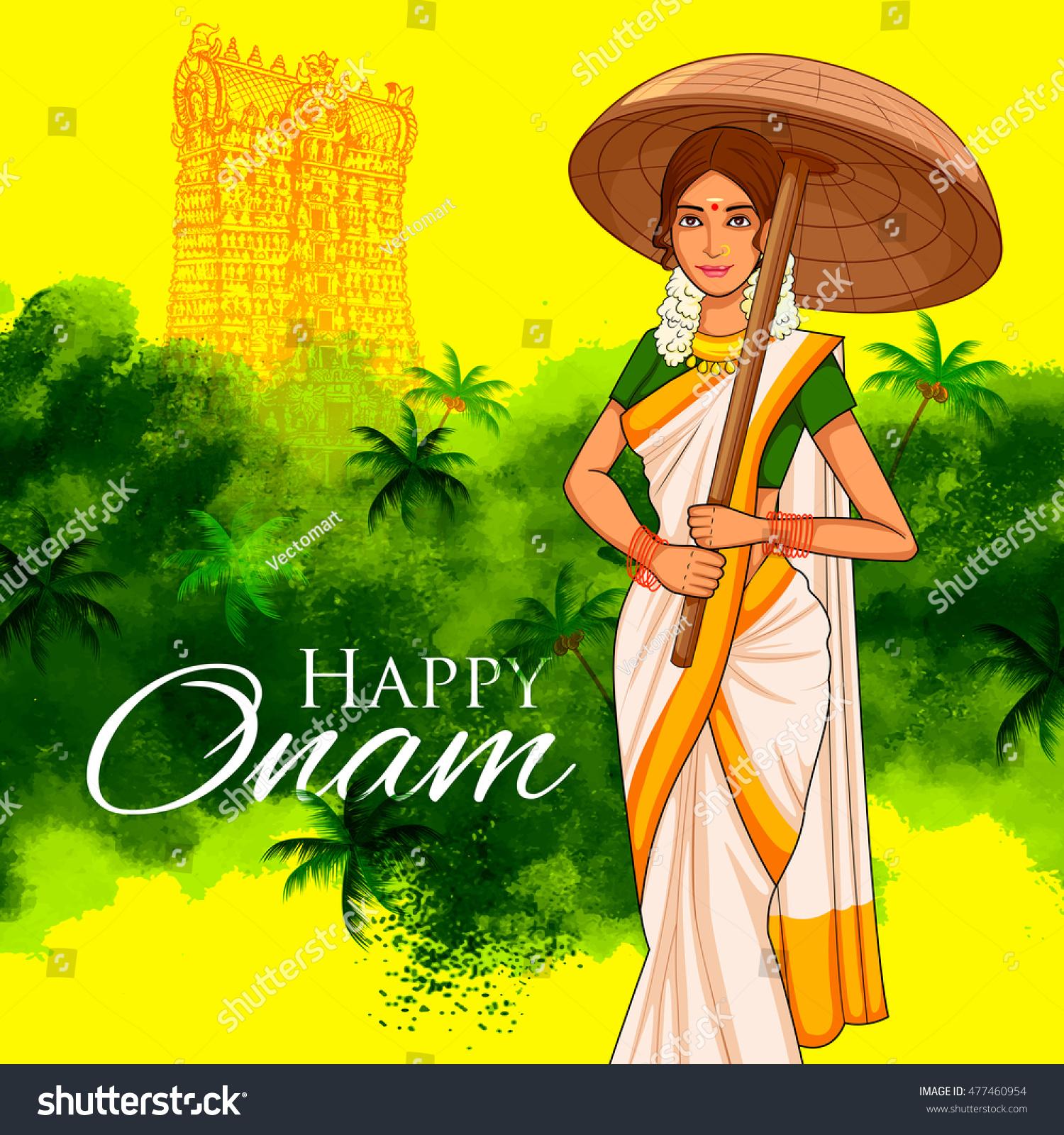 illustration of South Indian Keralite woman with tradition palm leaf umbrella Olakkuda celebrating Onam