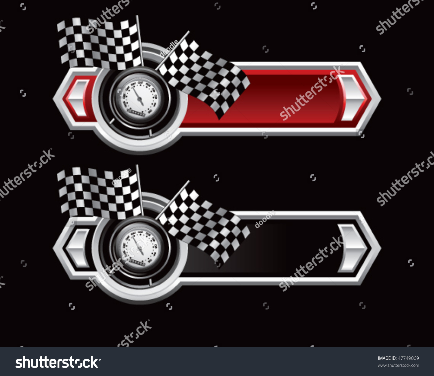 Speedometer Checkered Flags On Red Black Stock Vector ...
