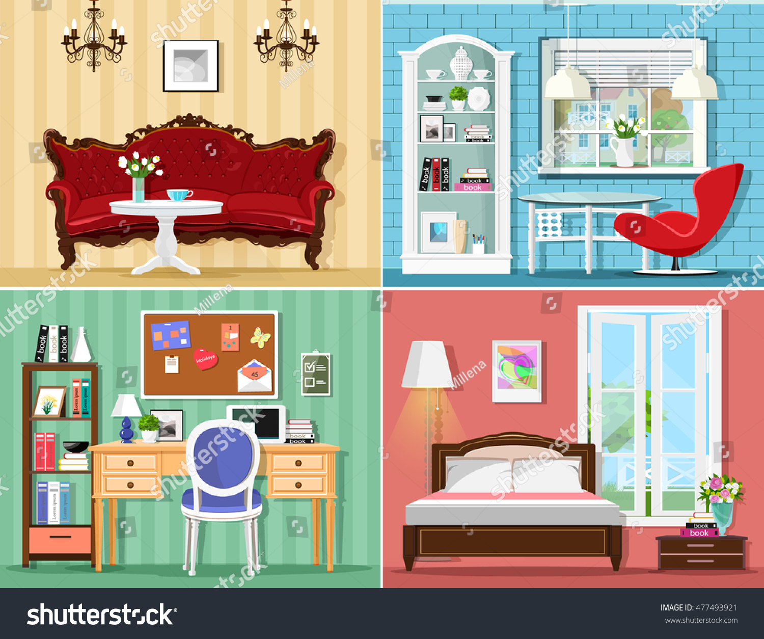 colorful home office. Stylish Graphic Rooms Set: Living Room, Bedroom, Home Office. Colorful Vector Furniture Office S