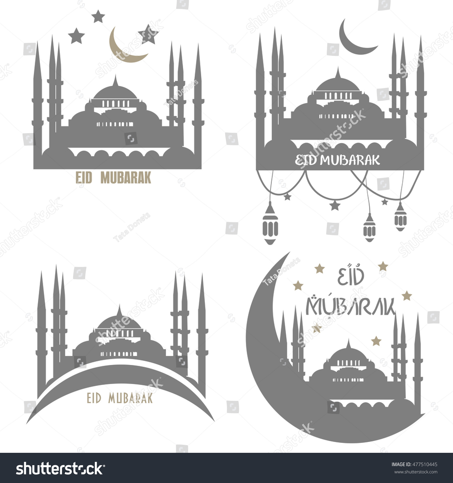 Set Muslim Community Greetings Cards Vector Vector 477510445 – Eid Card Templates