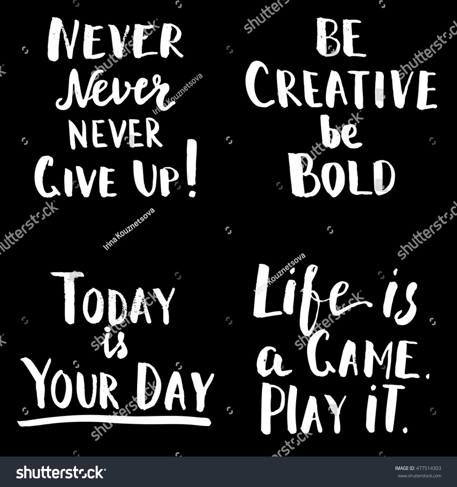 Motivational Sayings Happy Motivational Quotes Set Hand Drawn Stock Vector 477514303