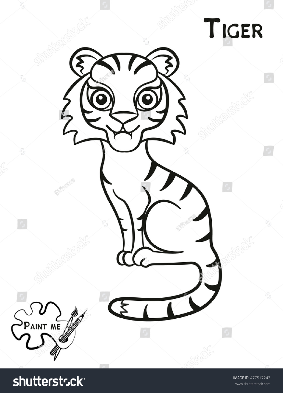 childrens coloring book that says paint me tiger - Childrens Coloring Books