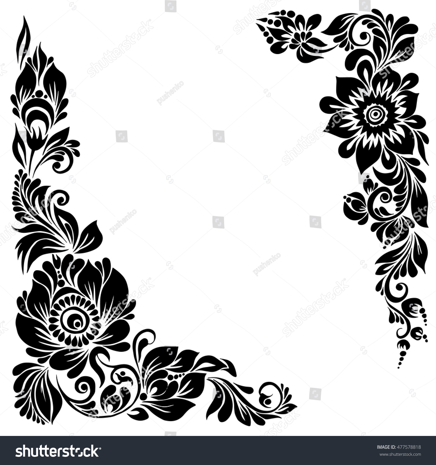 Royalty-free beautiful corner background black and… #477578818 Stock ...