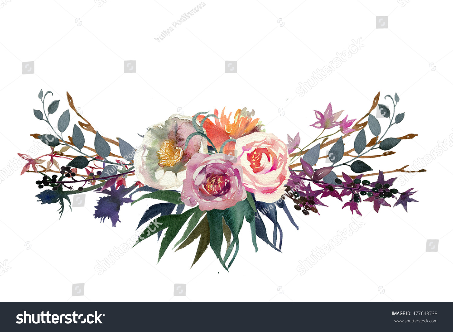 Watercolor Flowers Leaves Floral Bouquet Pink Stock Illustration ...
