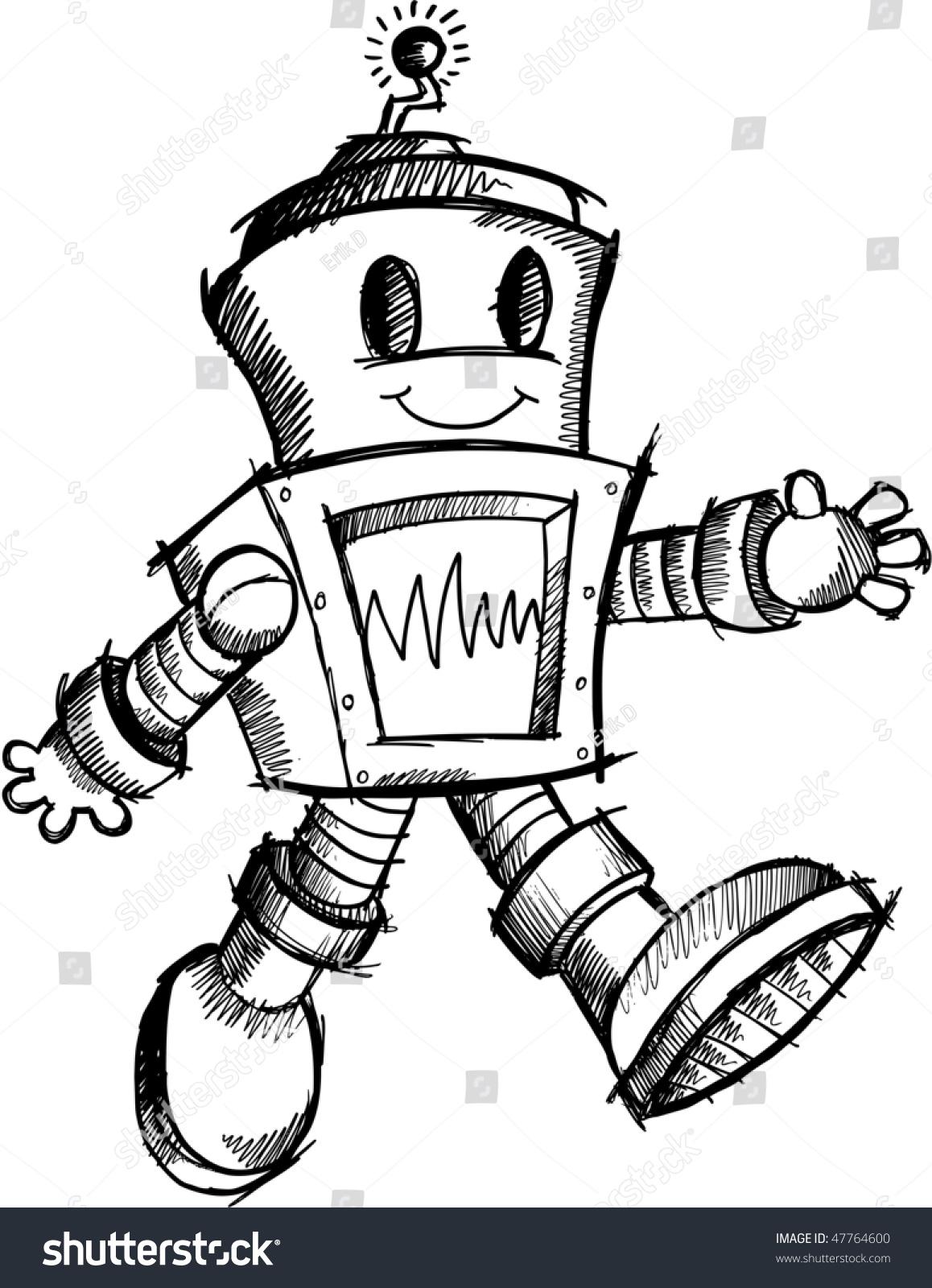 robot sketch doodle vector stock vector 47764600