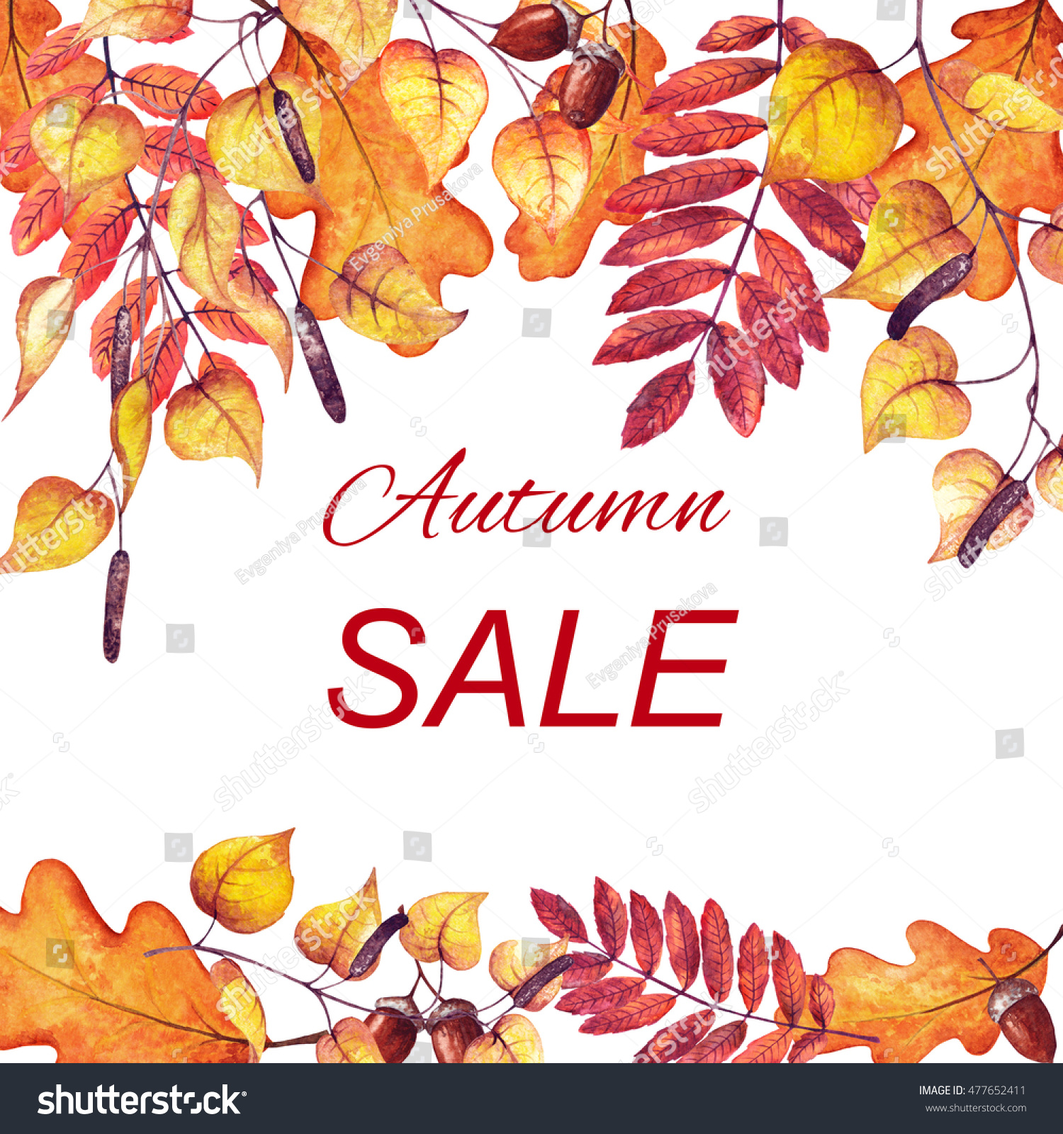autumn sale banner colorful fall leaves stock illustration 477652411