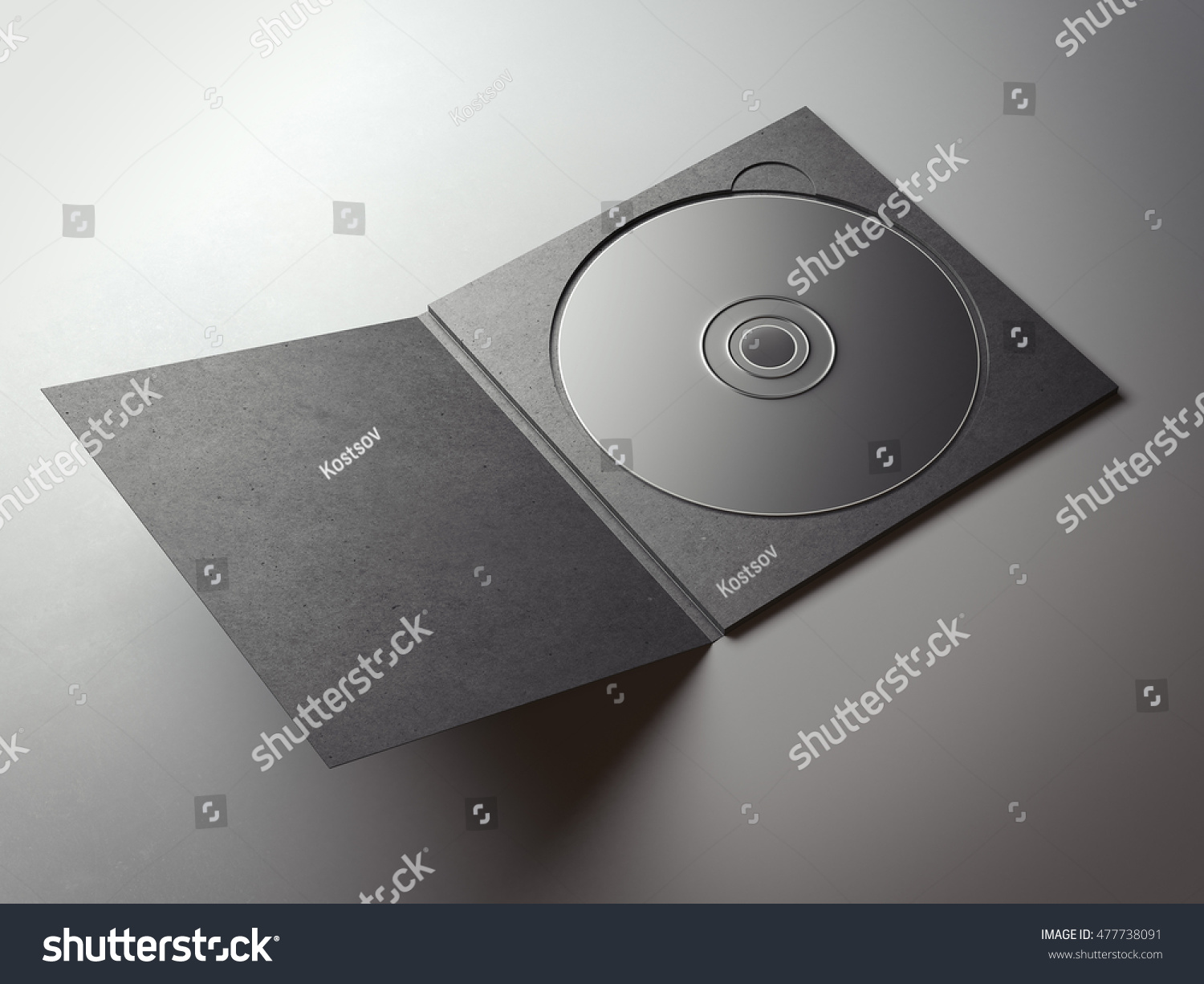 Blank black compact disk cover on gray floor 3D rendering