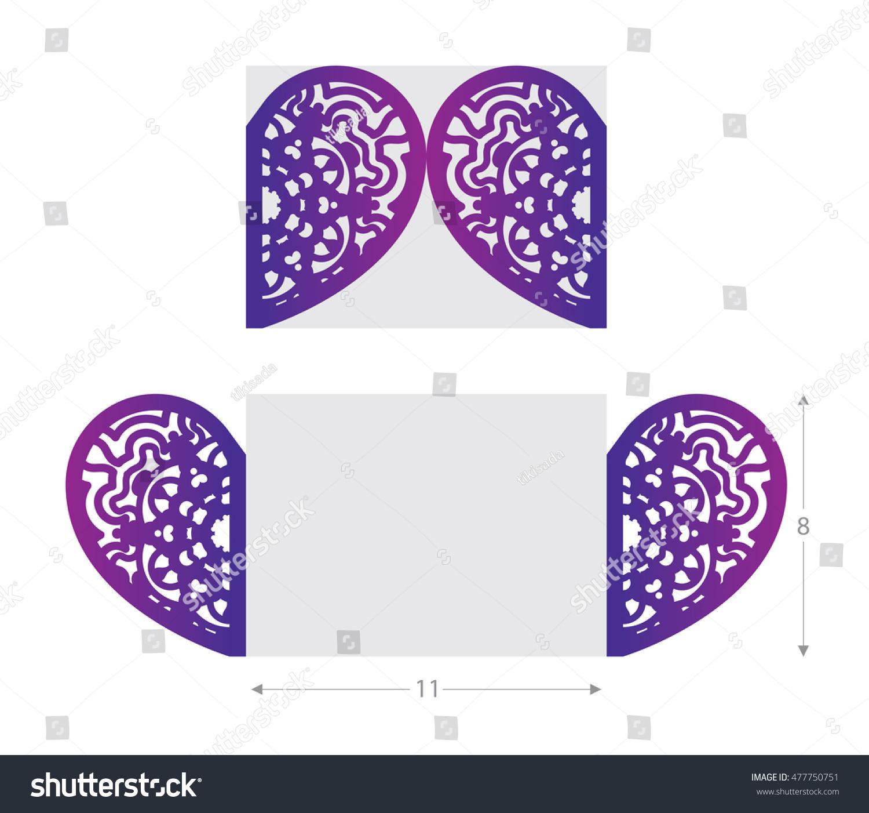 laser cut wedding card cutout paper stock vector 477750751