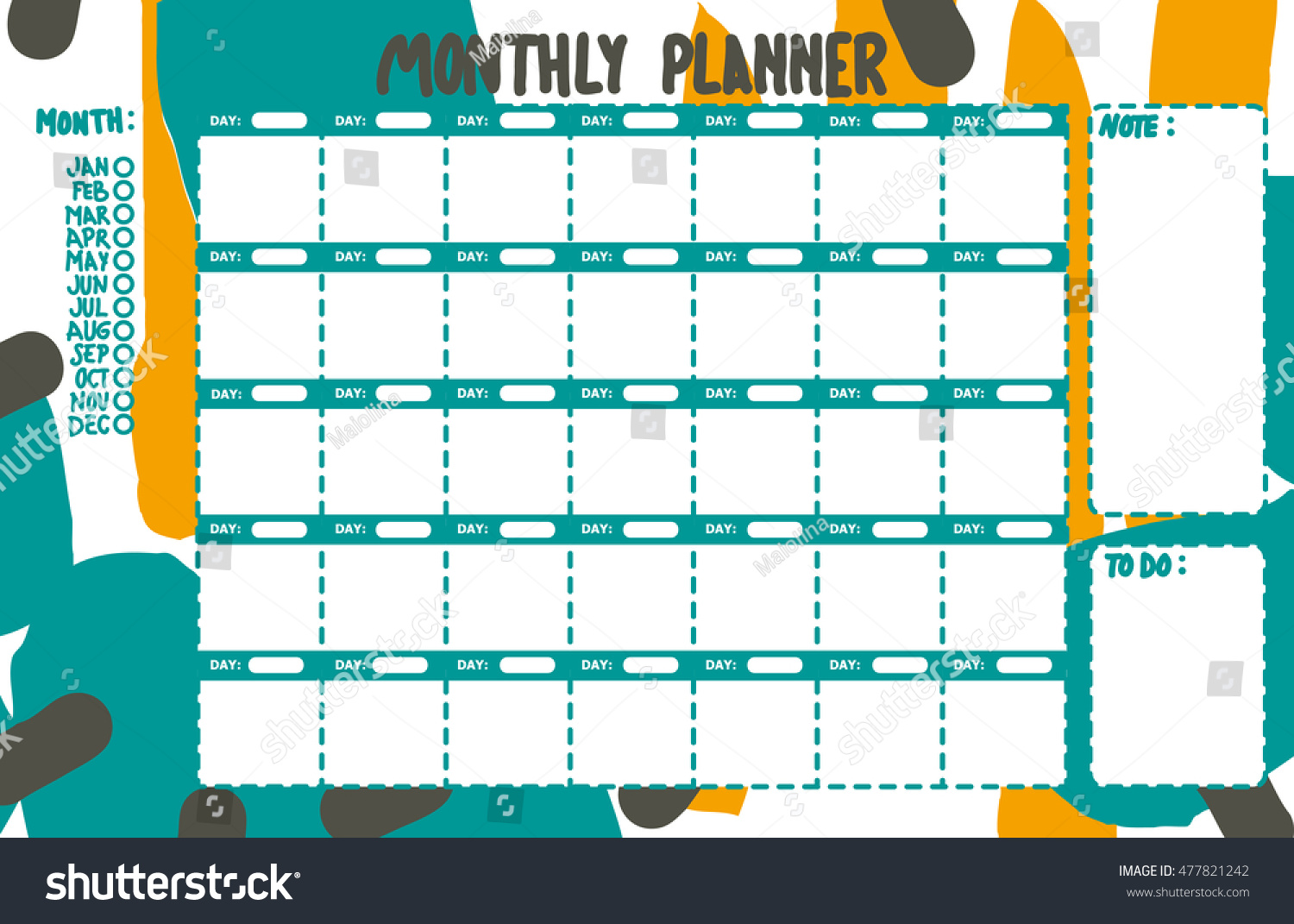 green monthly planner printable colorful fun stock vector royalty
