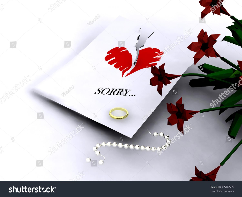letter word sorry heart golden ring stock illustration  letter word sorry heart and golden ring