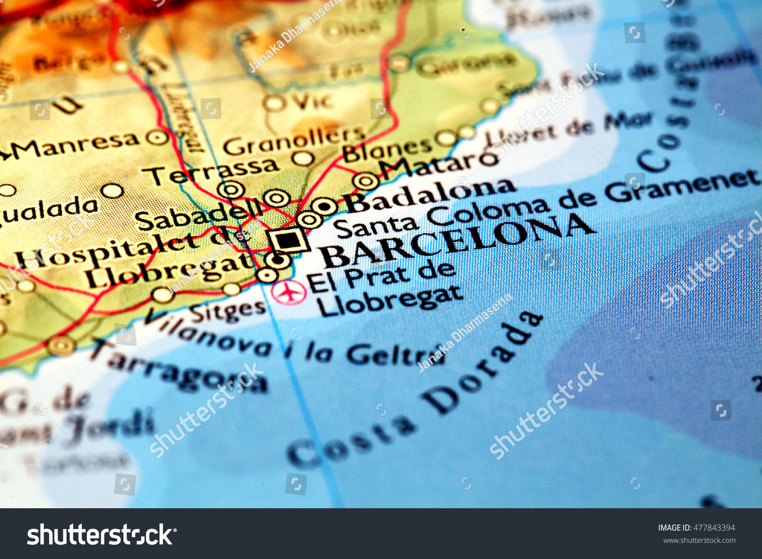 Barcelona Spain On Atlas World Map Stock Photo Edit Now 477843394