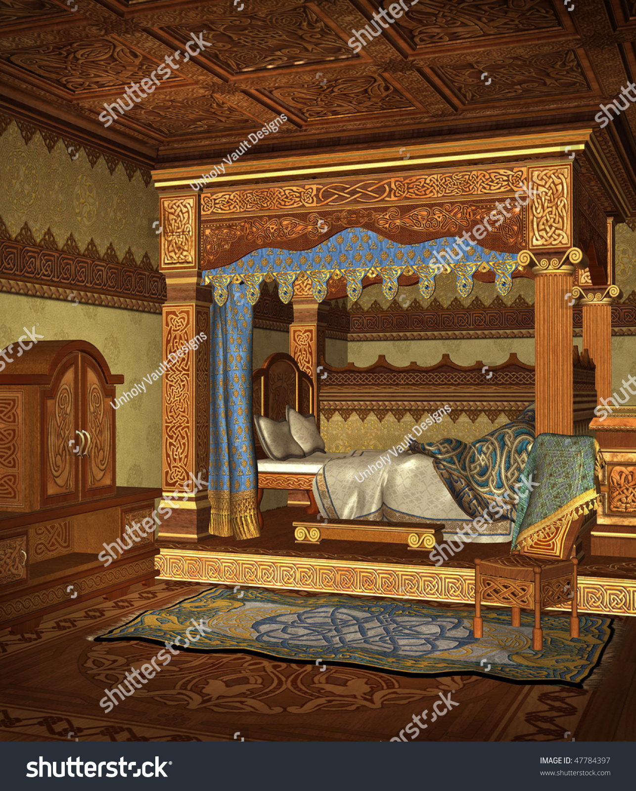 Medieval Bed Chamber Cupboard Chair Stock Illustration ...