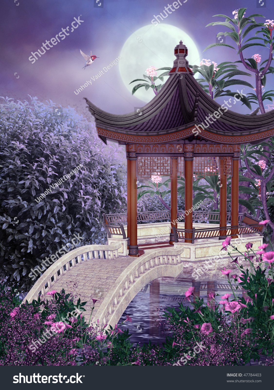 Night Scenery With An Oriental Pavilion And Pink Flowers Stock ...