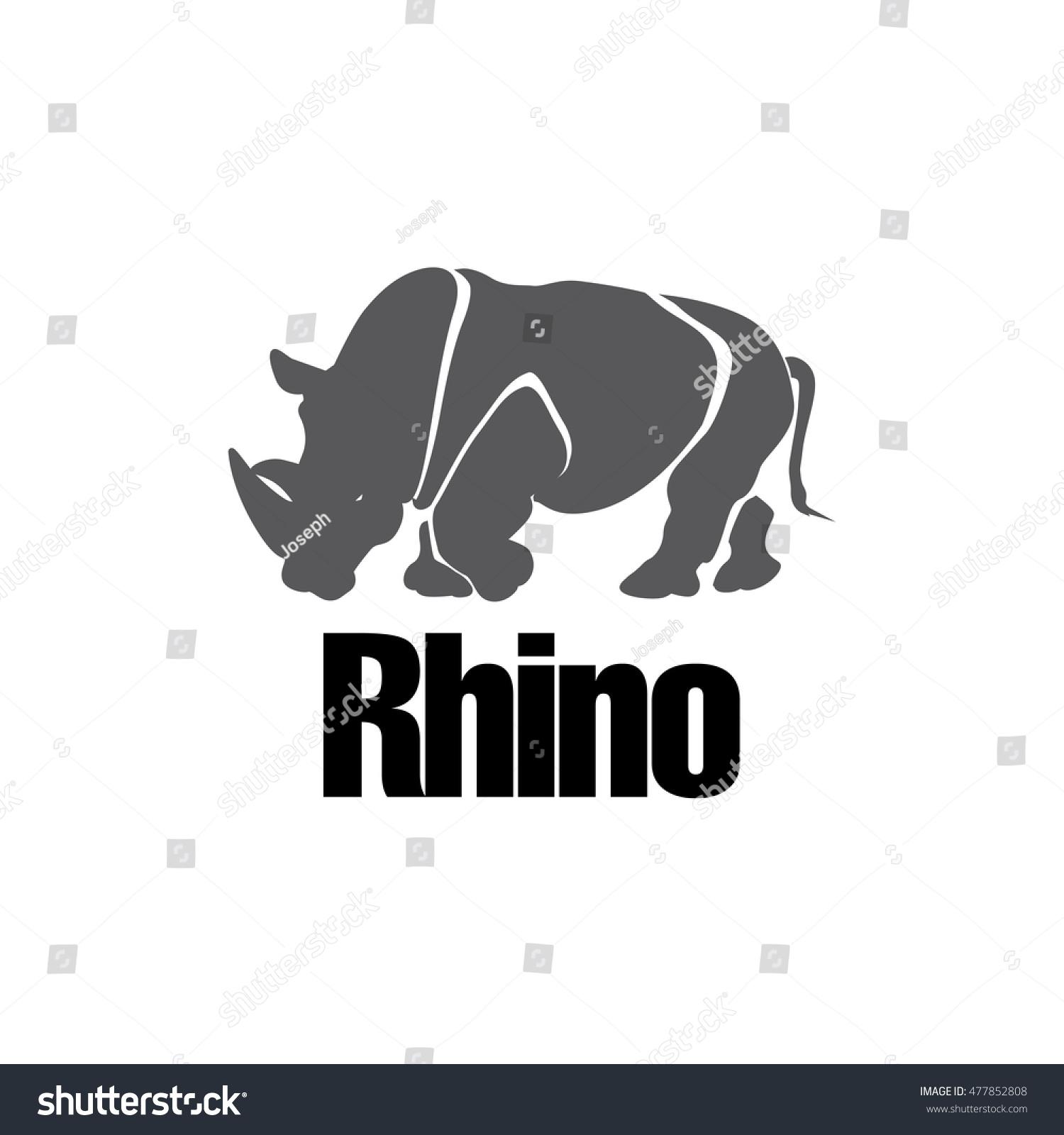 Modern Rhino Silhouette Logo Design Vector Stock Vector 477852808 ...