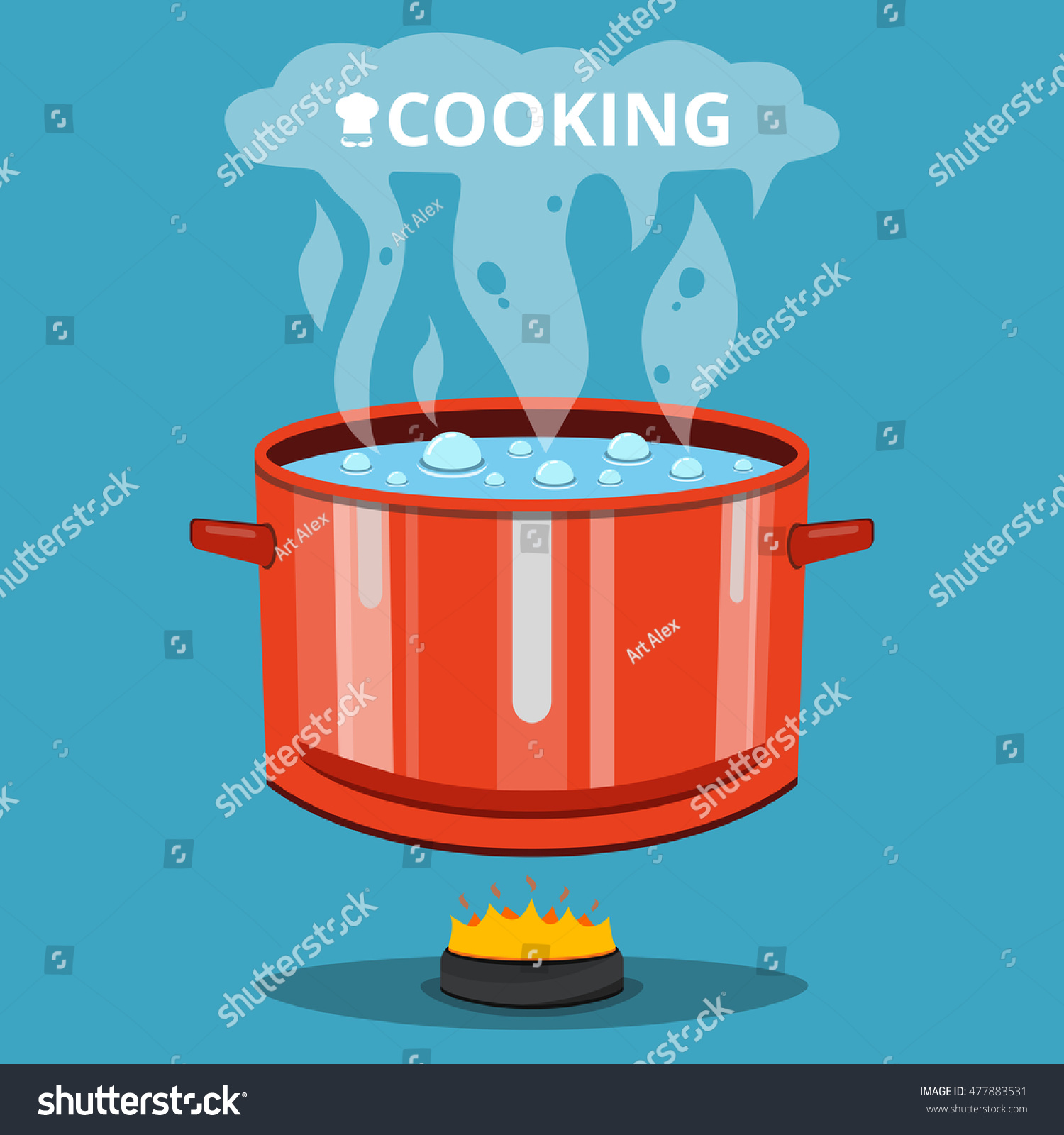 Boiling Water Pan Cooking Pot On Stock Vector 477883531 ...