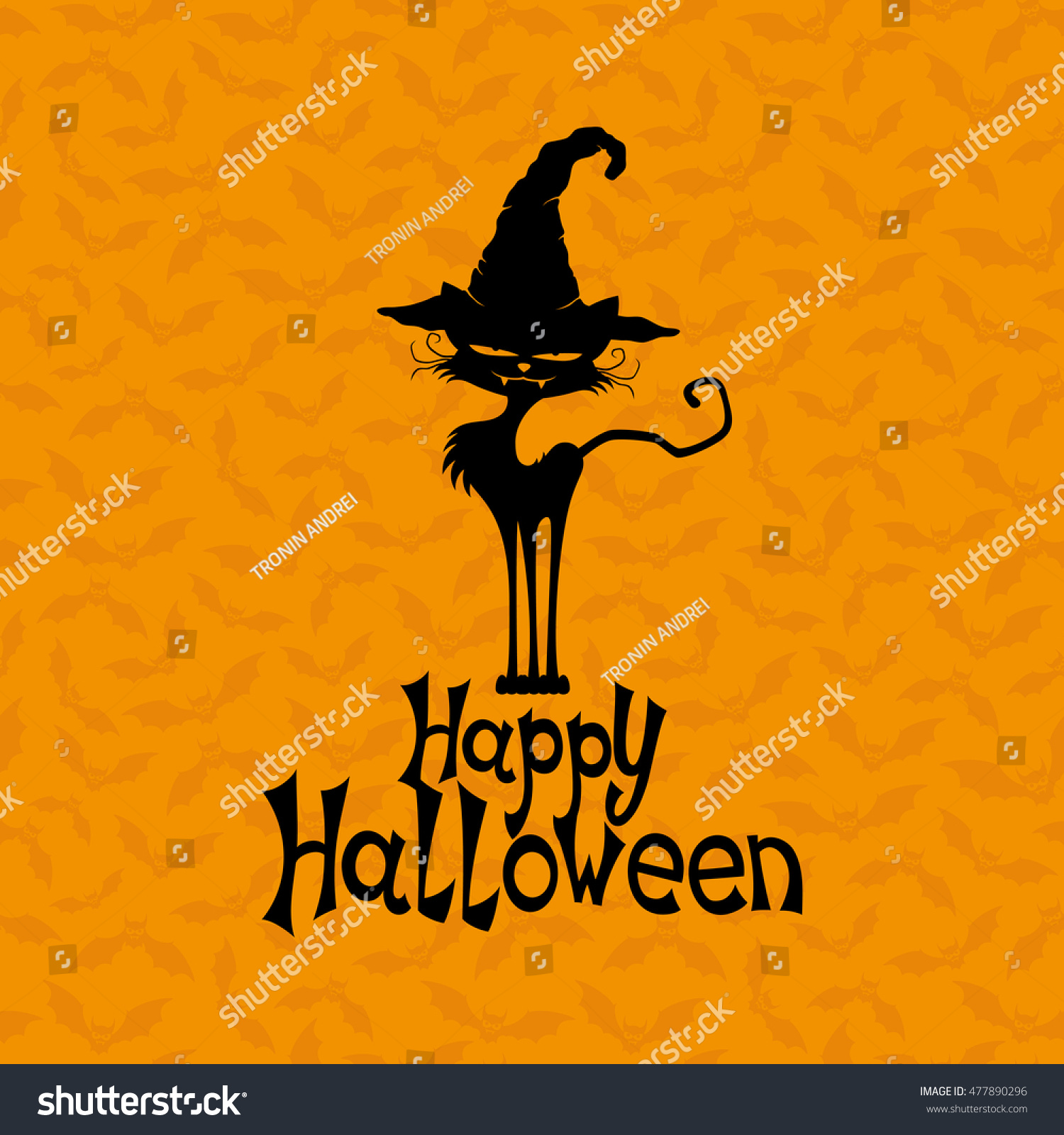 black cat happy halloween wishes stock vector (royalty free