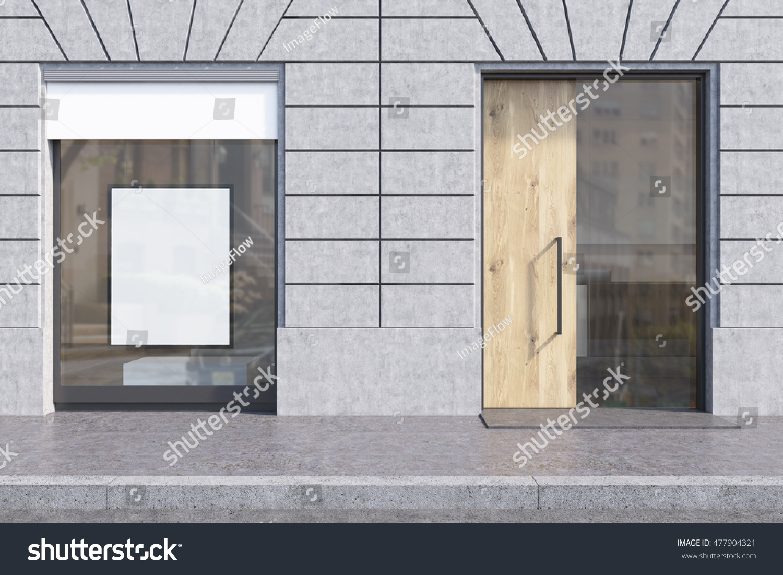 Shop Window White Promotional Poster Glass Stock Illustration