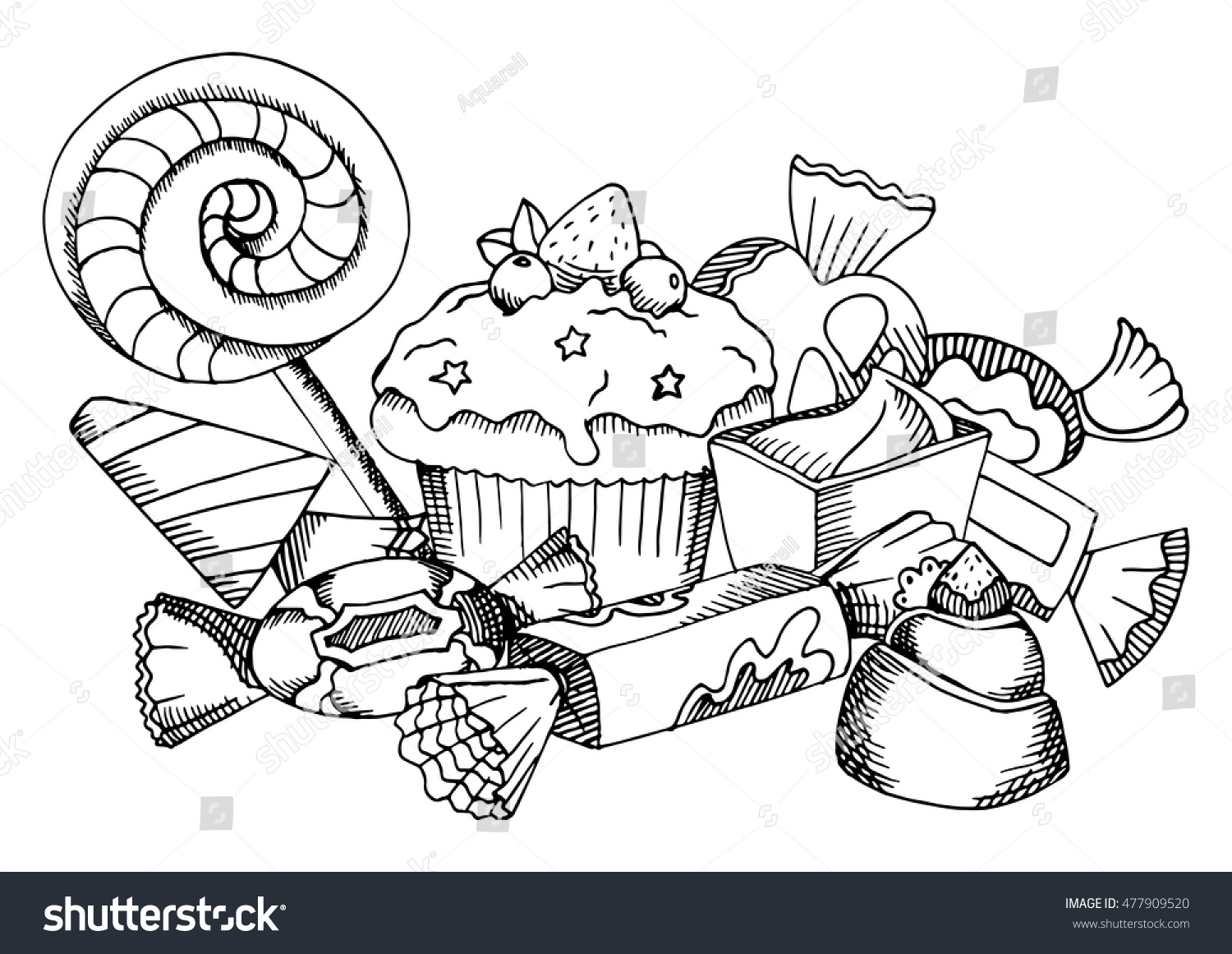 vector black and white food coloring book page for children and adult sweets collection lollipop - Food Coloring Book
