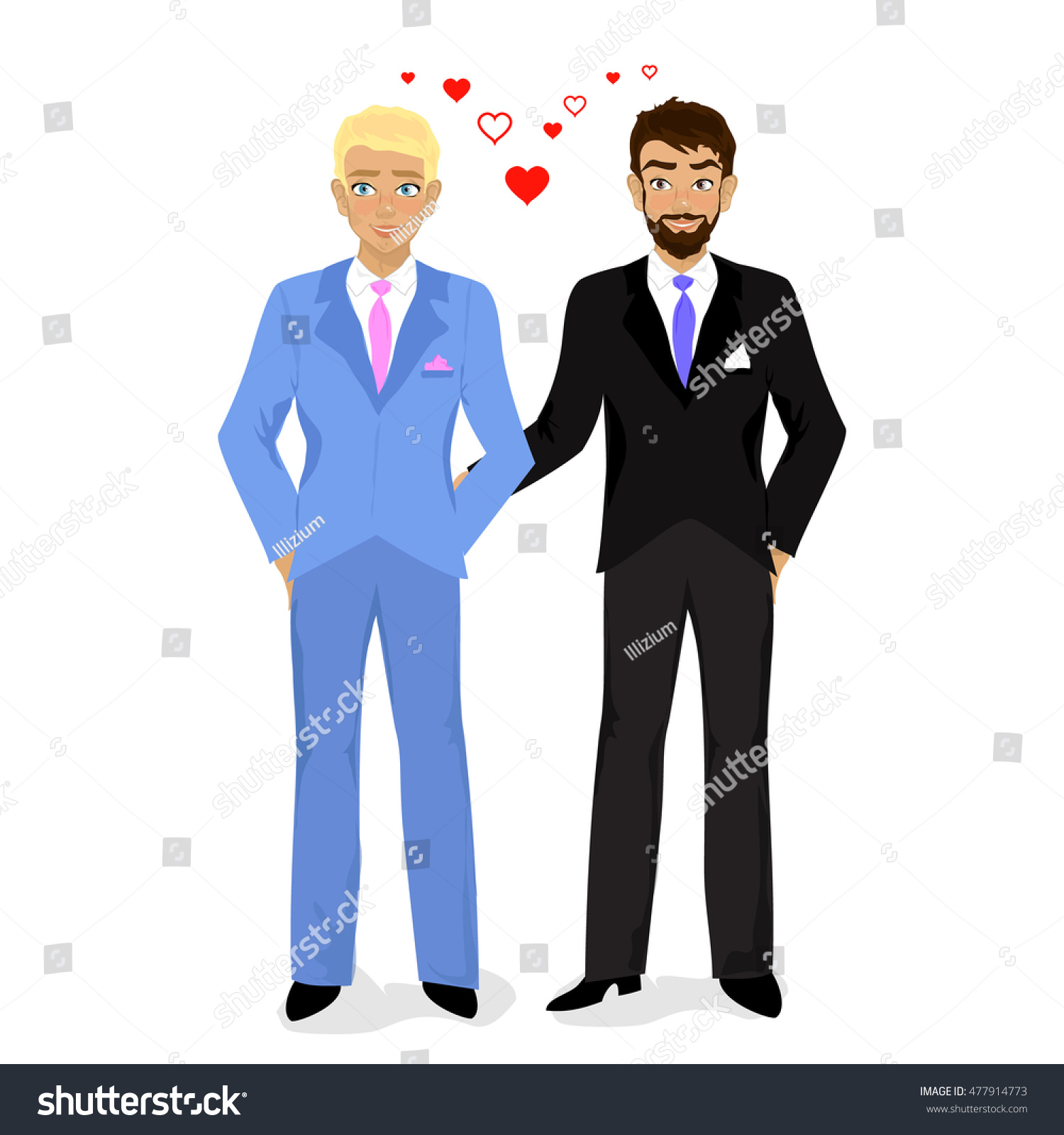 Cartoon Illustration Of Happy Gay Wedding Couple On White Background Just Married Couple Vector