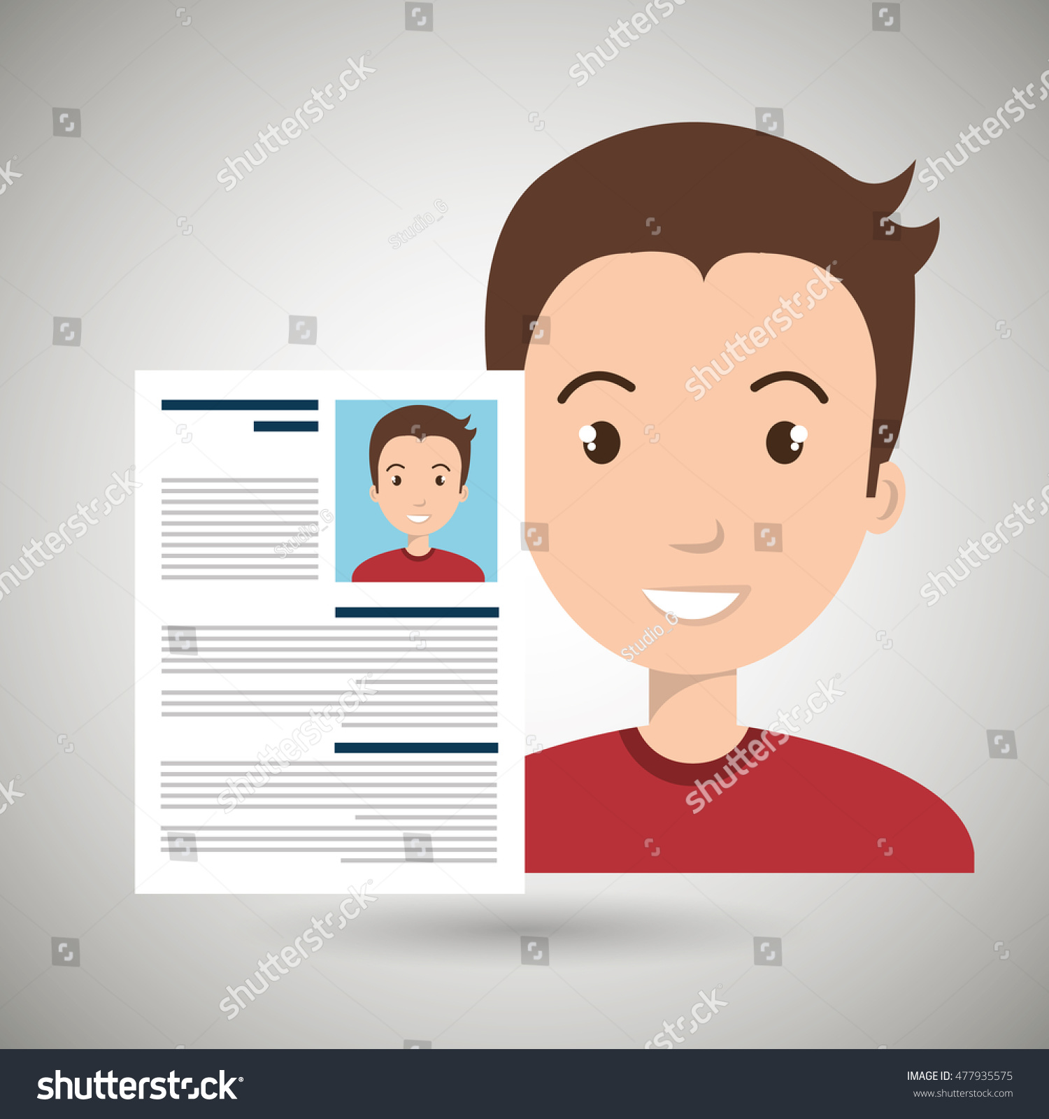 cv resume man icon stock vector 477935575