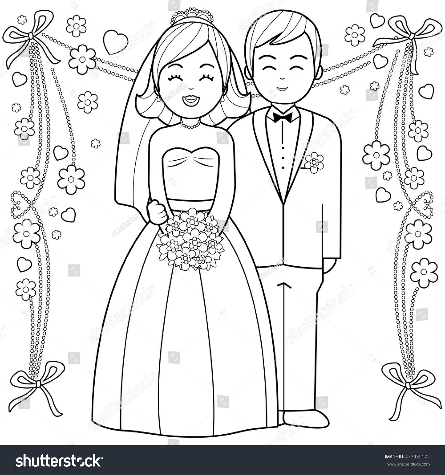 Bride Groom Coloring Book Page Stock Vector 477939172 - Shutterstock