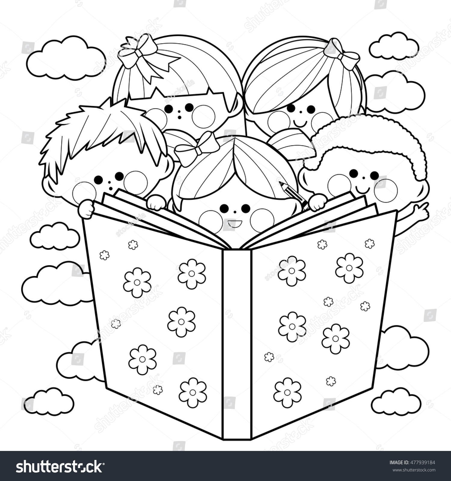 group kids reading book coloring book stock vector 477939184