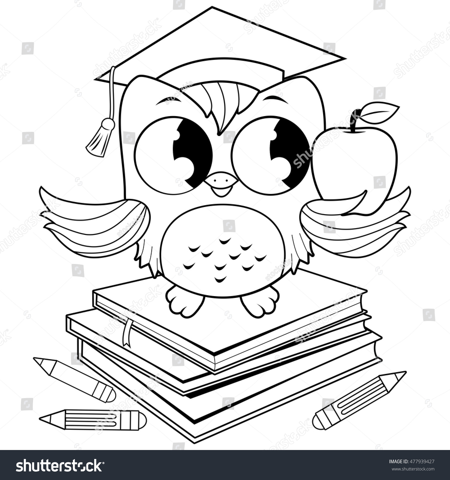 Owl On Books With Graduation Hat Coloring Book Page