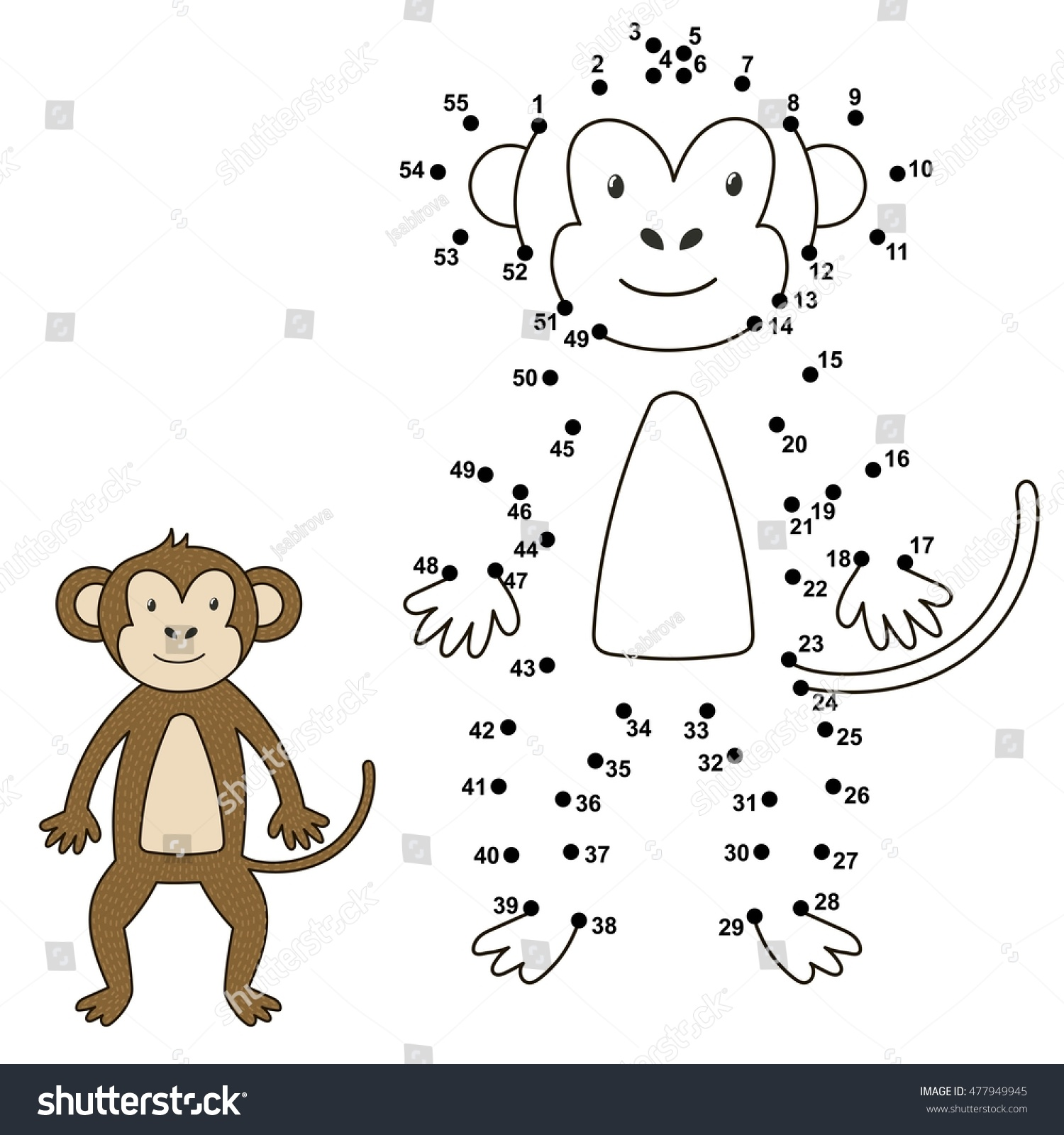 connect dots draw cute monkey color stock vector 477949945