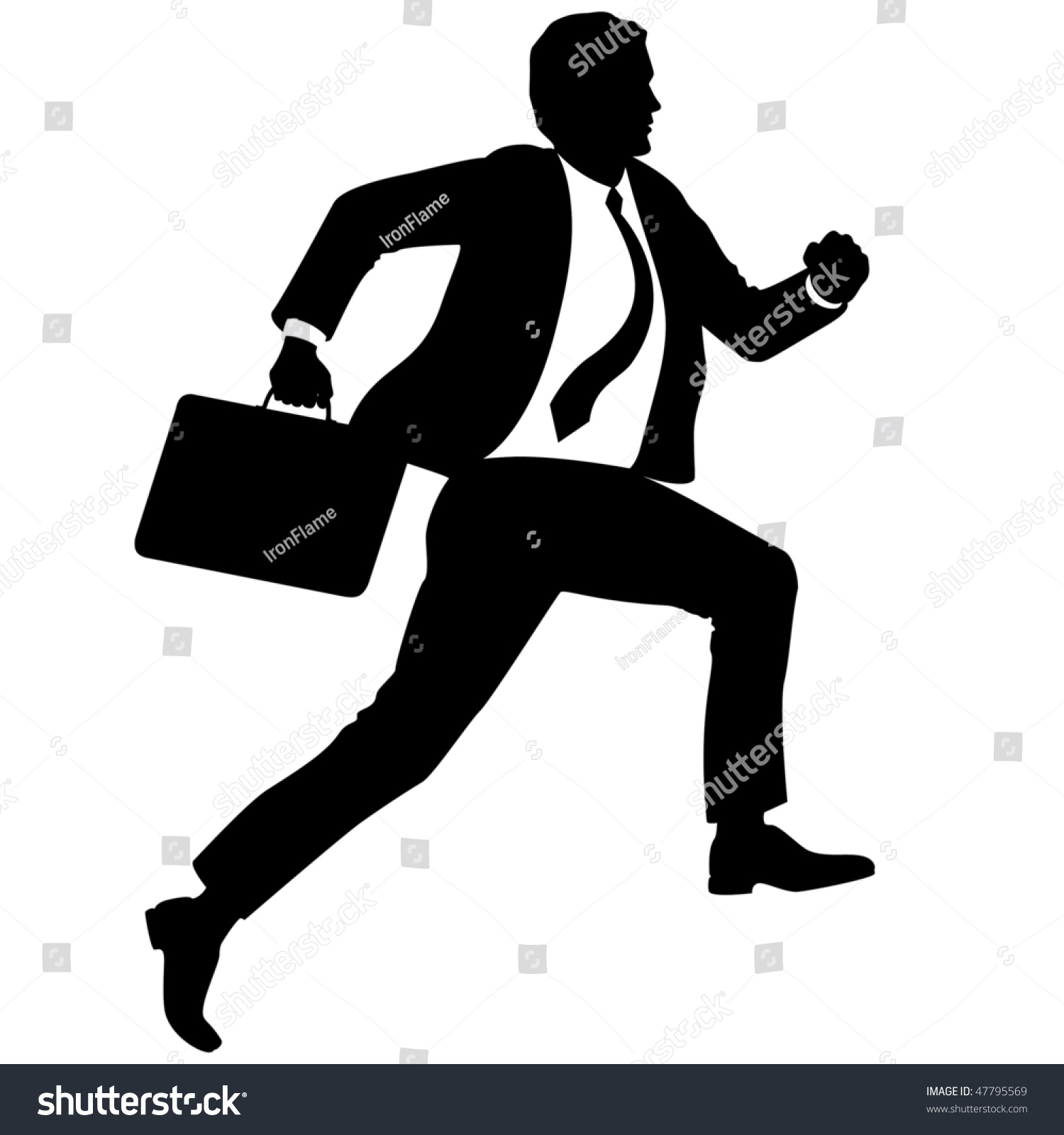 Running Man In Suit Silhouette Man In Suit Running Si...
