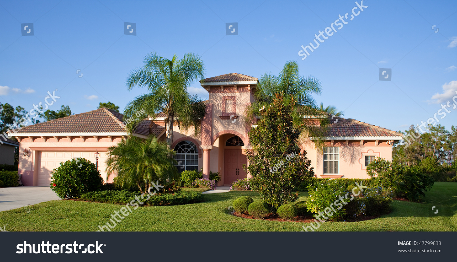 Large tropical beach house in florida stock photo 47799838 for Large beach house