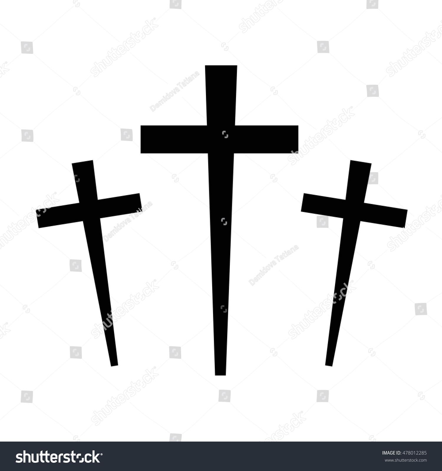 black icon three crosses halloween on stock vector 478012285