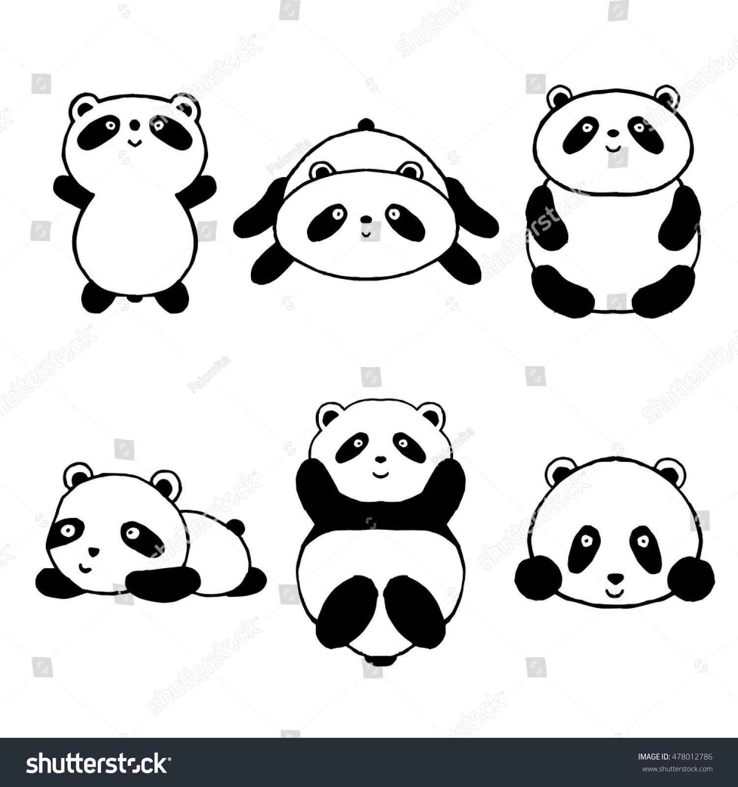 Cute Cartoon Panda Set Icons Black Stock Vector Royalty Free 478012786