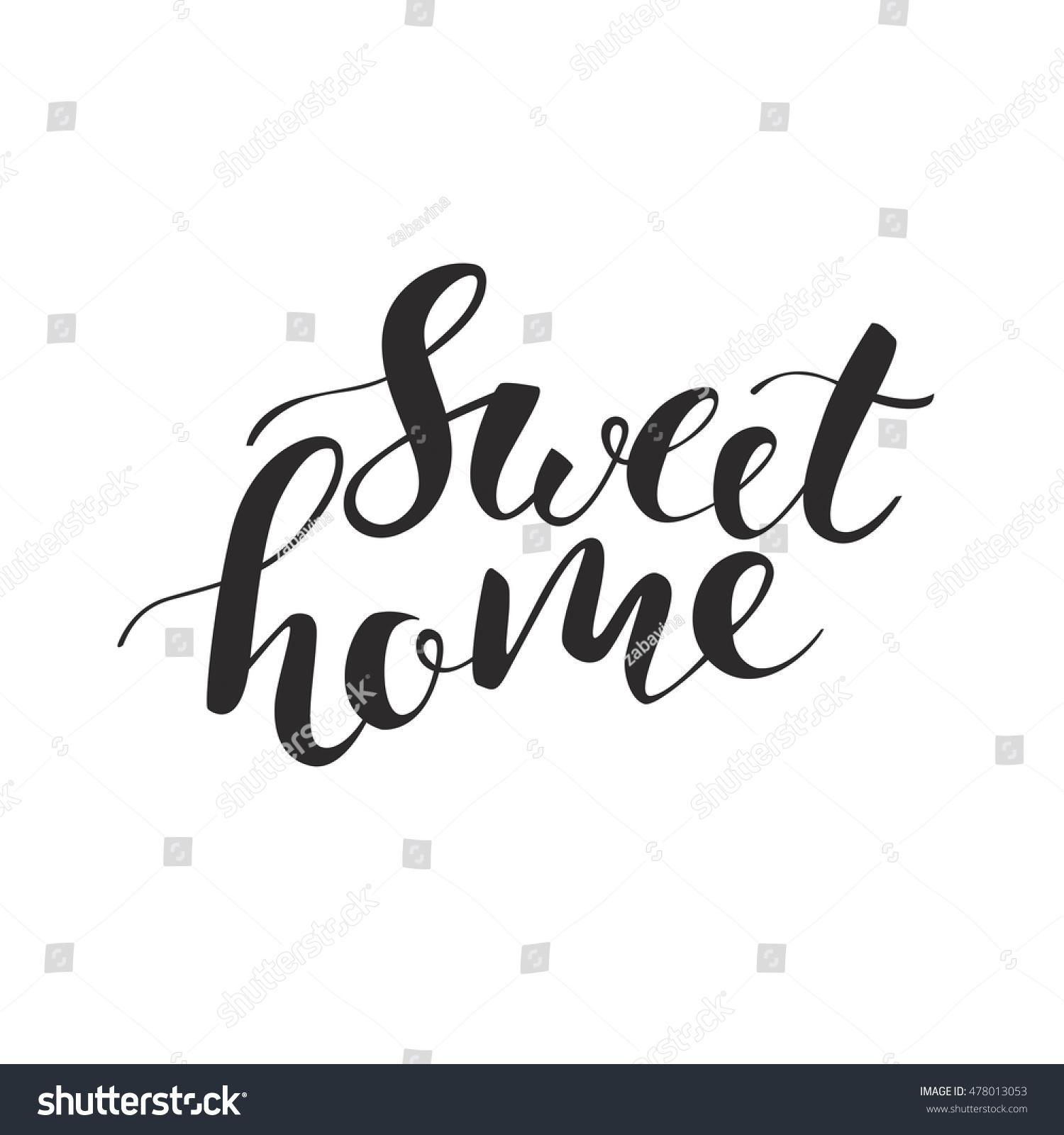 Sweet home lettering handwritten modern brush stock vector