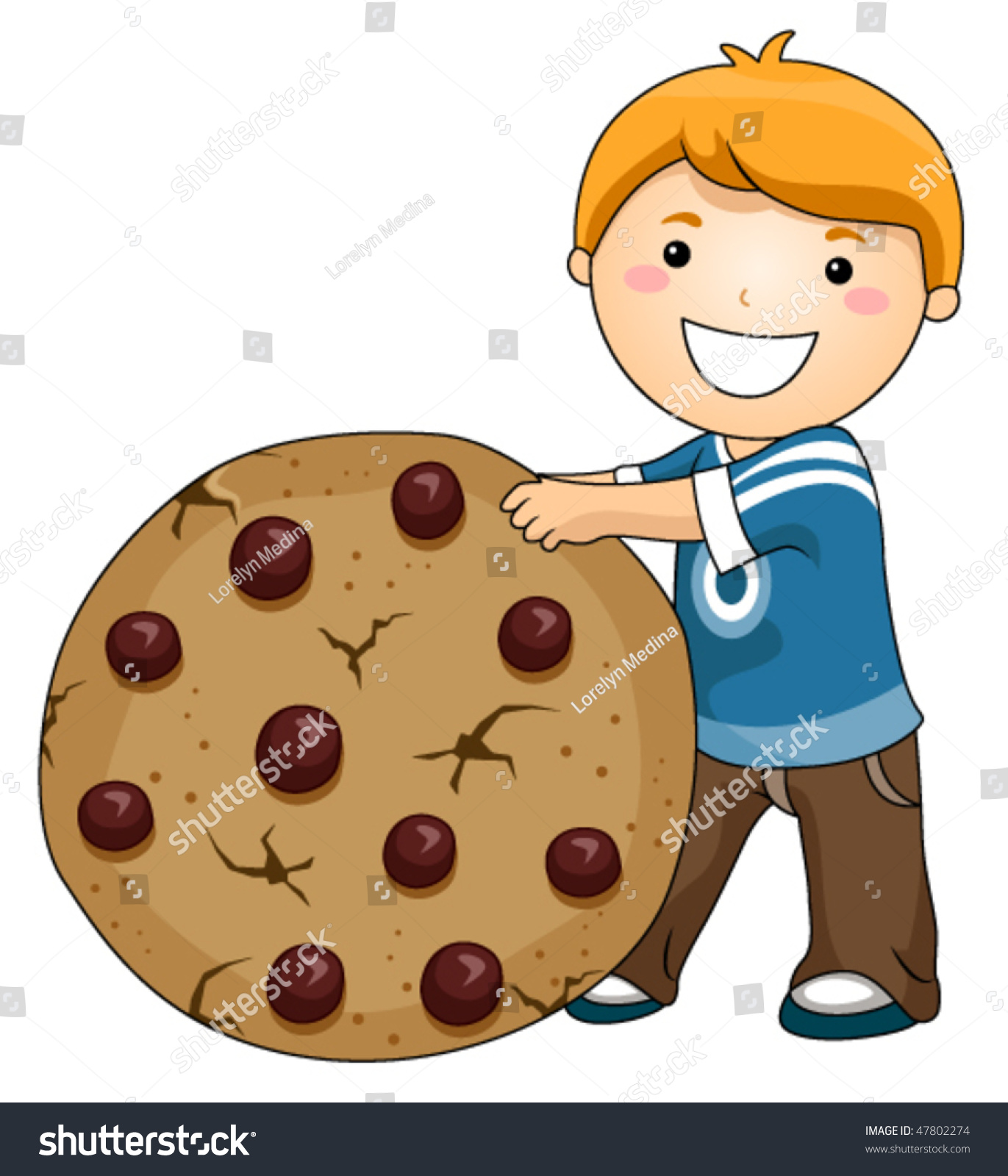 chocolate chip cookies clipart vector boy chocolate chip cookie vector stock vector 47802274 862