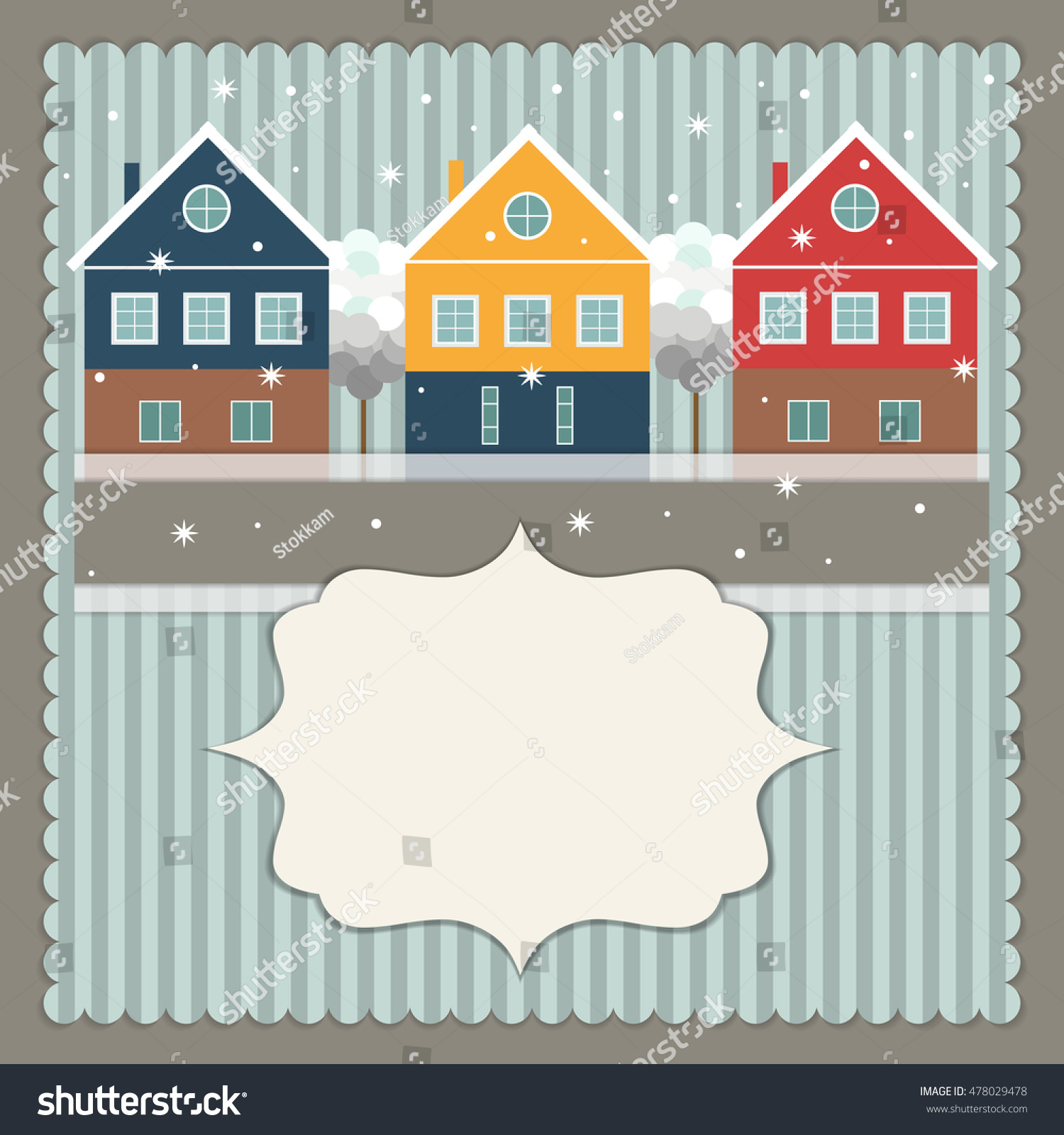 Real Estate Christmas Card Stock Vector (Royalty Free) 478029478 ...