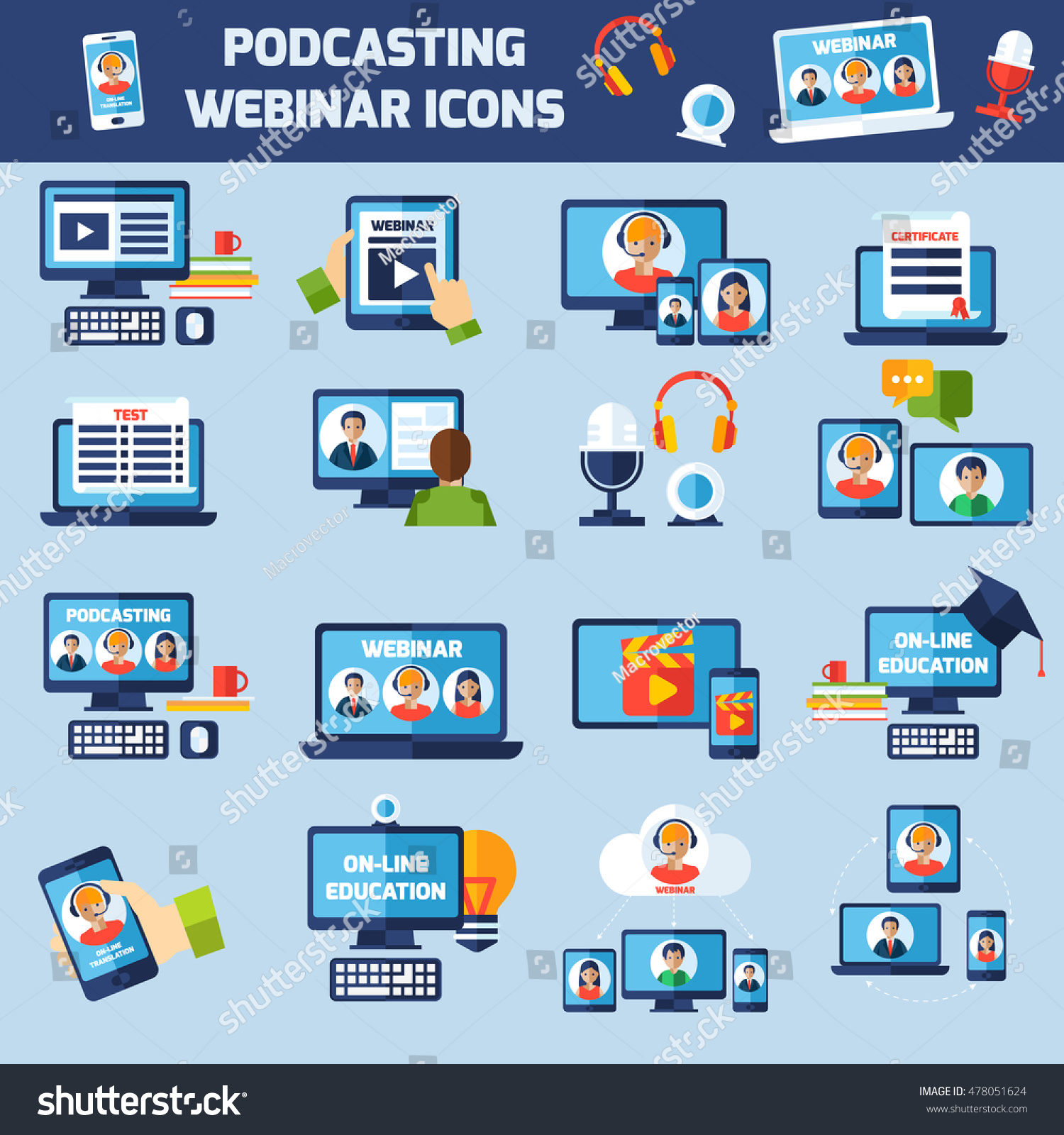 Podcasting Online Webinar Education Flat Icons Stock