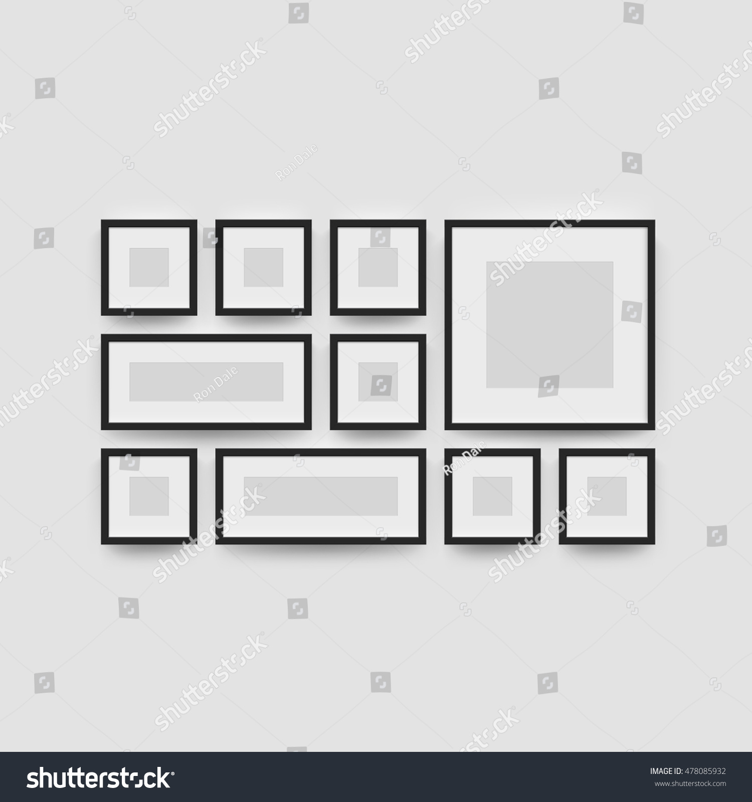 Black Blank Photo Frame Wall Gallery Stock Vector (Royalty Free ...
