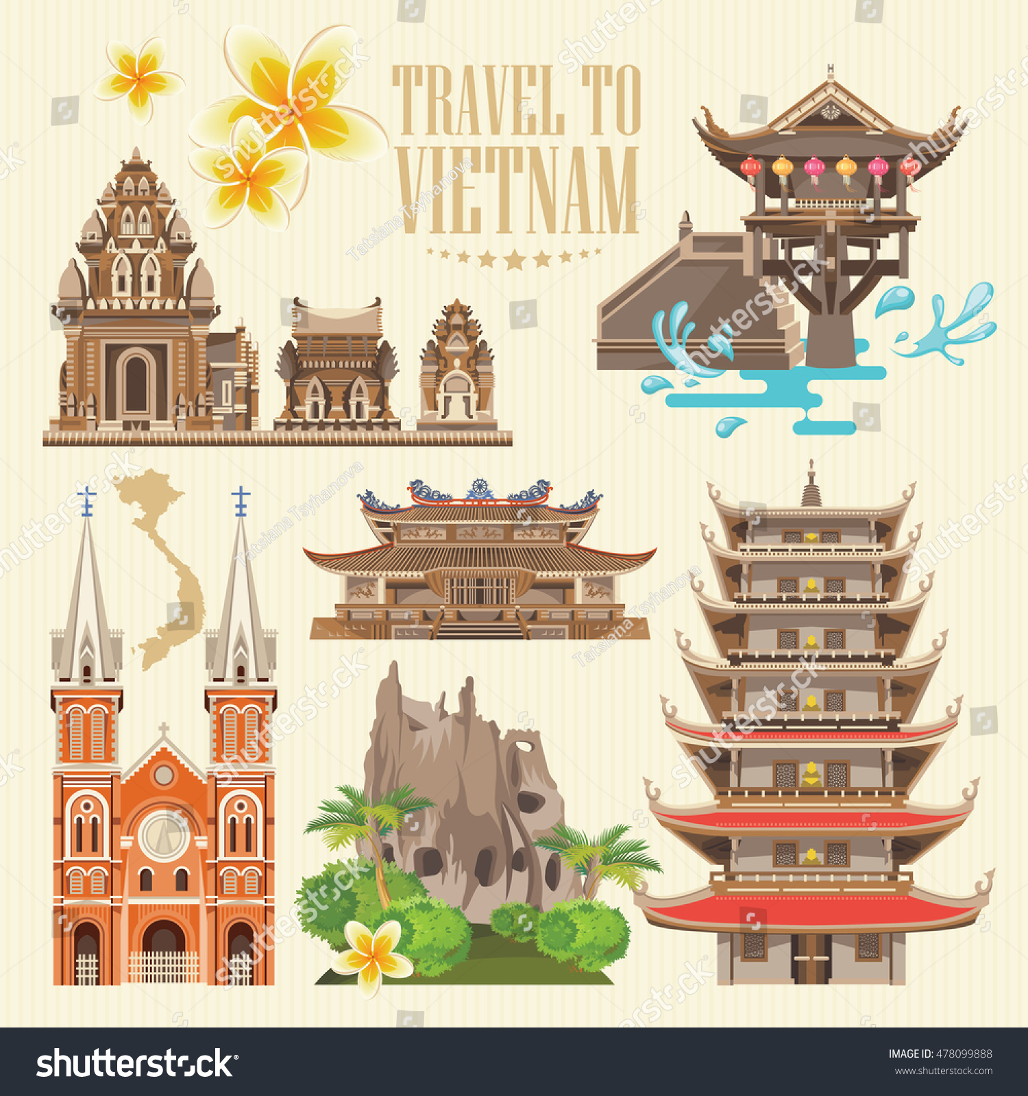 travel vietnam set traditional vietnamese cultural stock