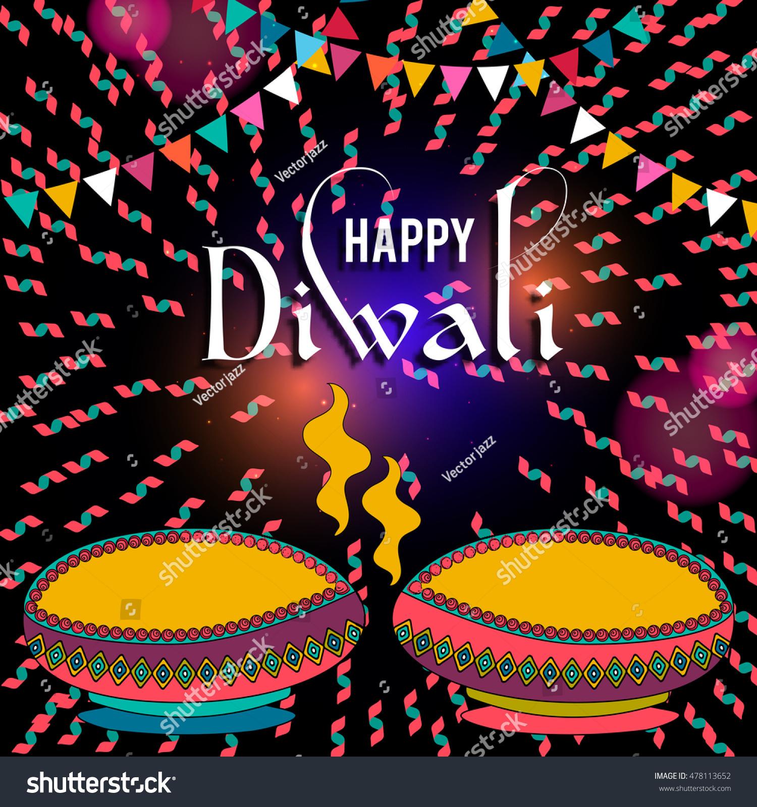 Happy Diwali Greeting Card Design Beautiful Stock Vector Royalty